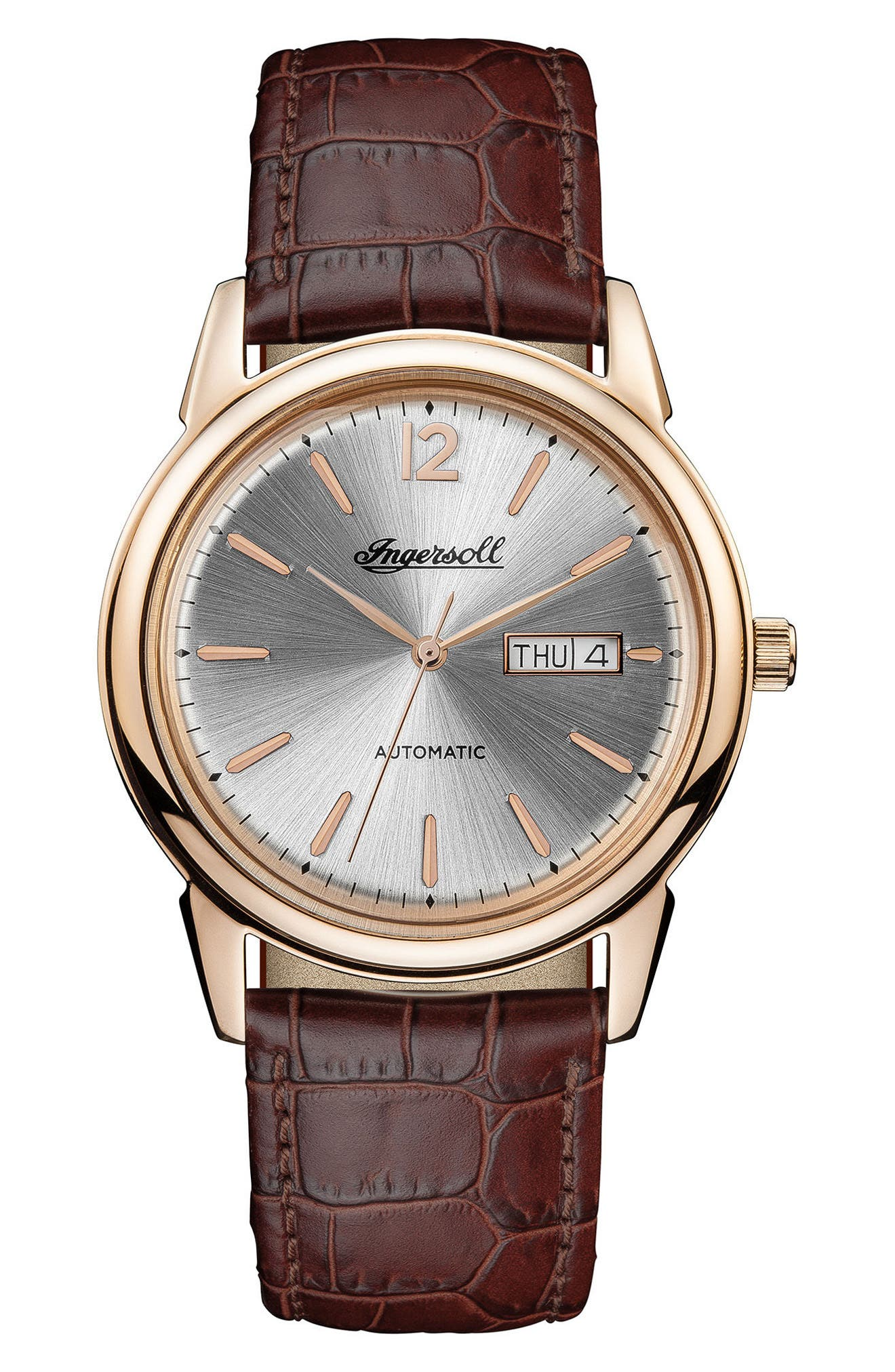 Ingersoll New Haven Automatic Leather Strap Watch, 40mm,                         Main,                         color, Brown/ Silver/ Rose Gold