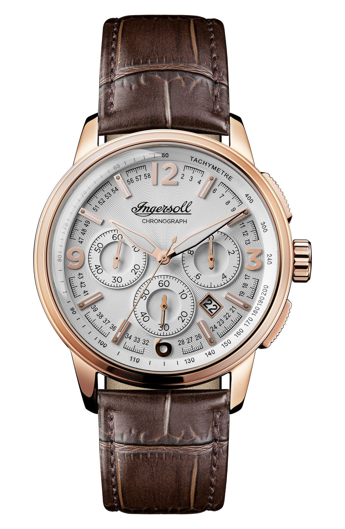 Ingersoll Regent Chronograph Leather Strap Watch, 47mm,                         Main,                         color, Brown/ Silver/ Rose Gold