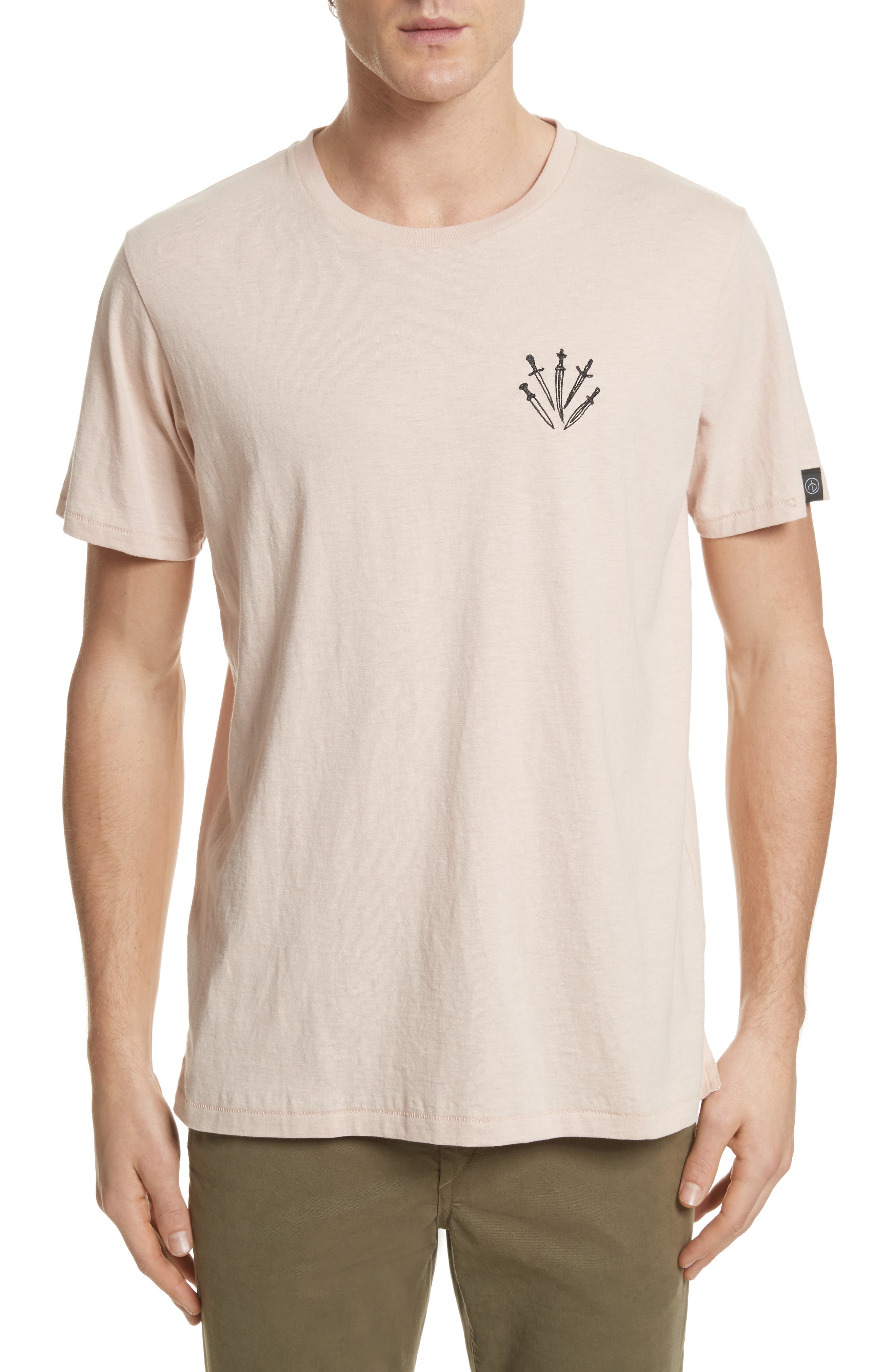Dagger Embroidered T-Shirt,                             Main thumbnail 1, color,                             Pink