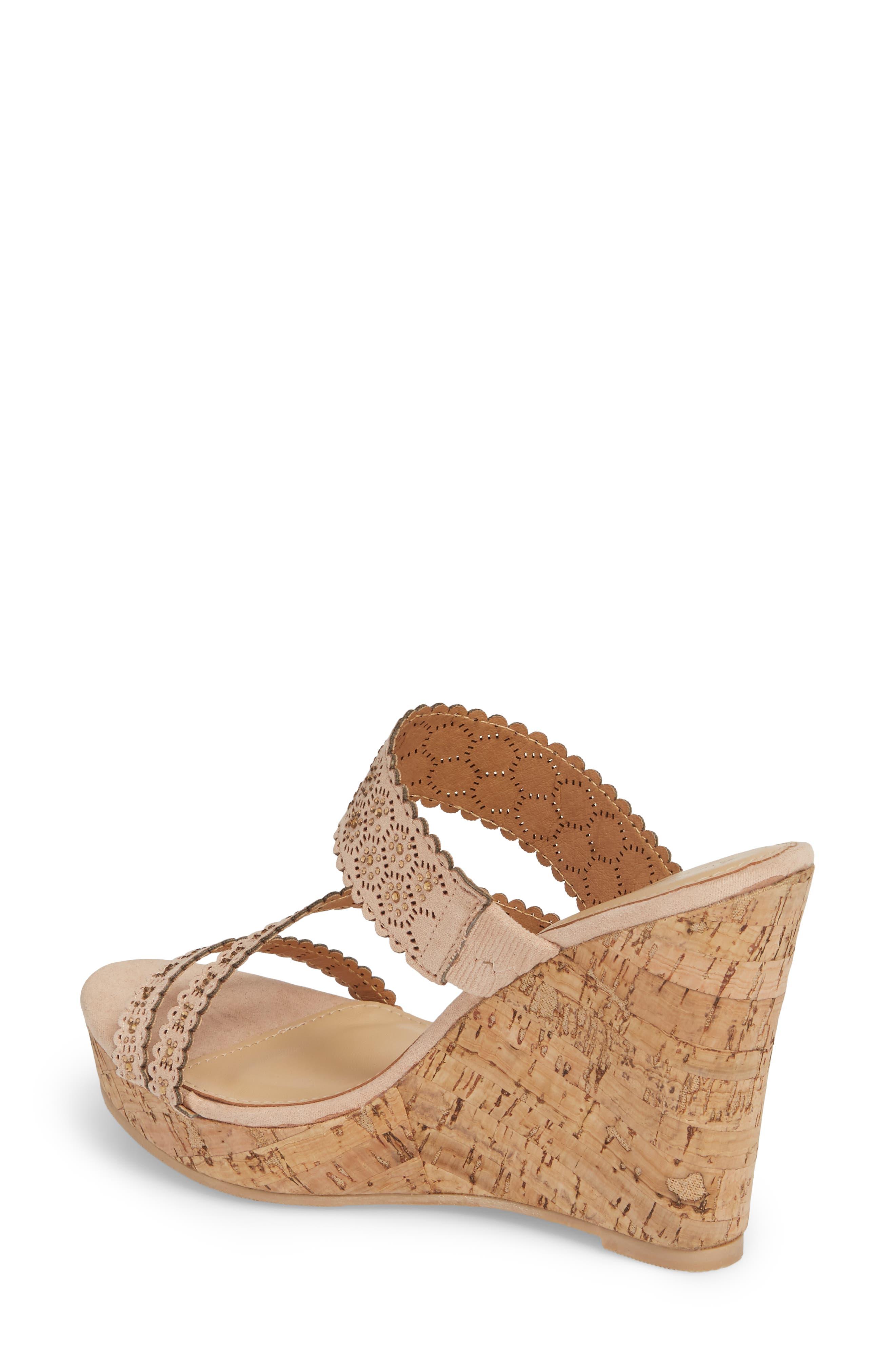 Aerin Embellished Wedge Sandal,                             Alternate thumbnail 2, color,                             Blush Suede