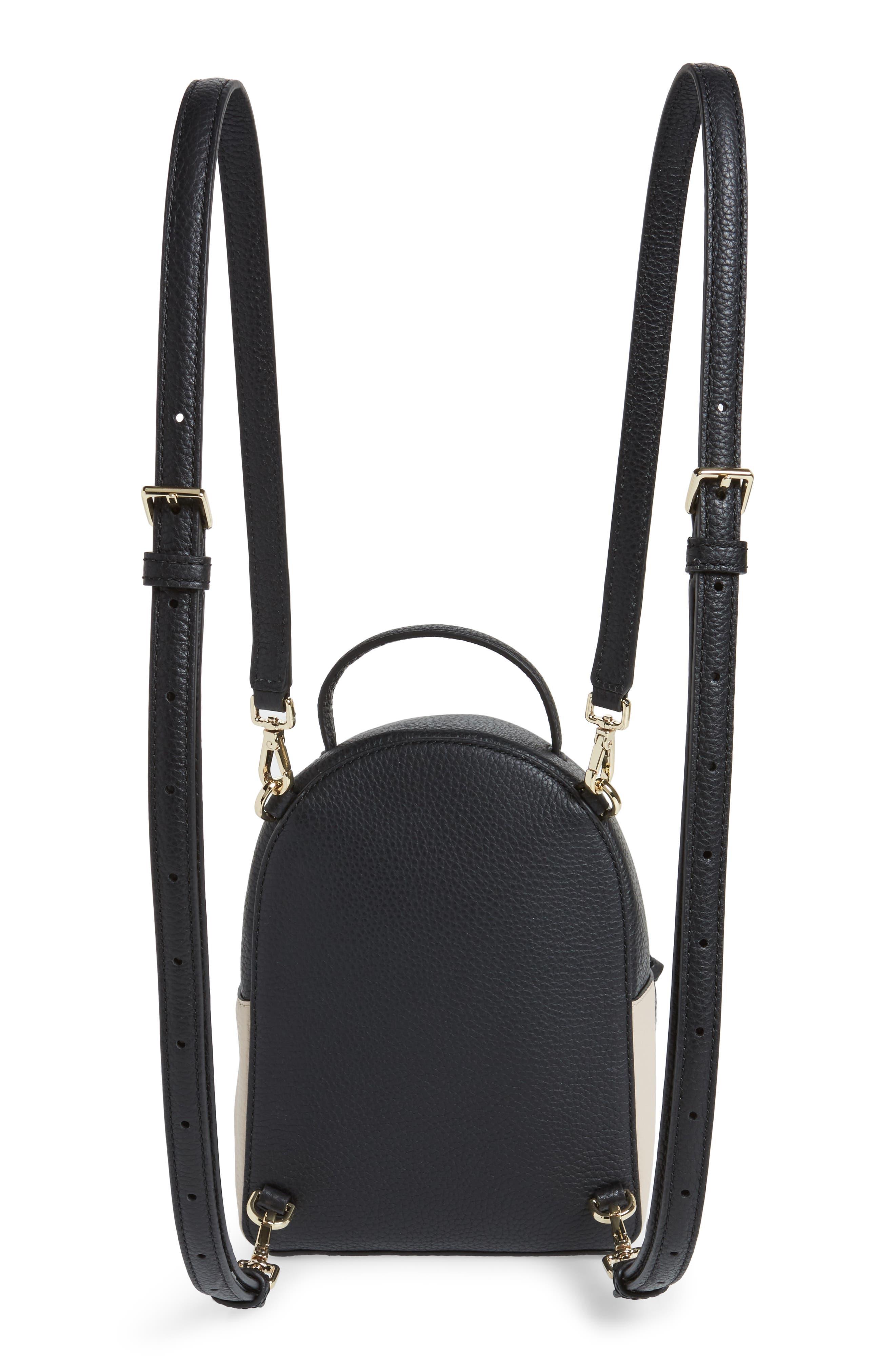 jackson street merry convertible leather backpack,                             Alternate thumbnail 3, color,                             Black/ Soft Porcelain
