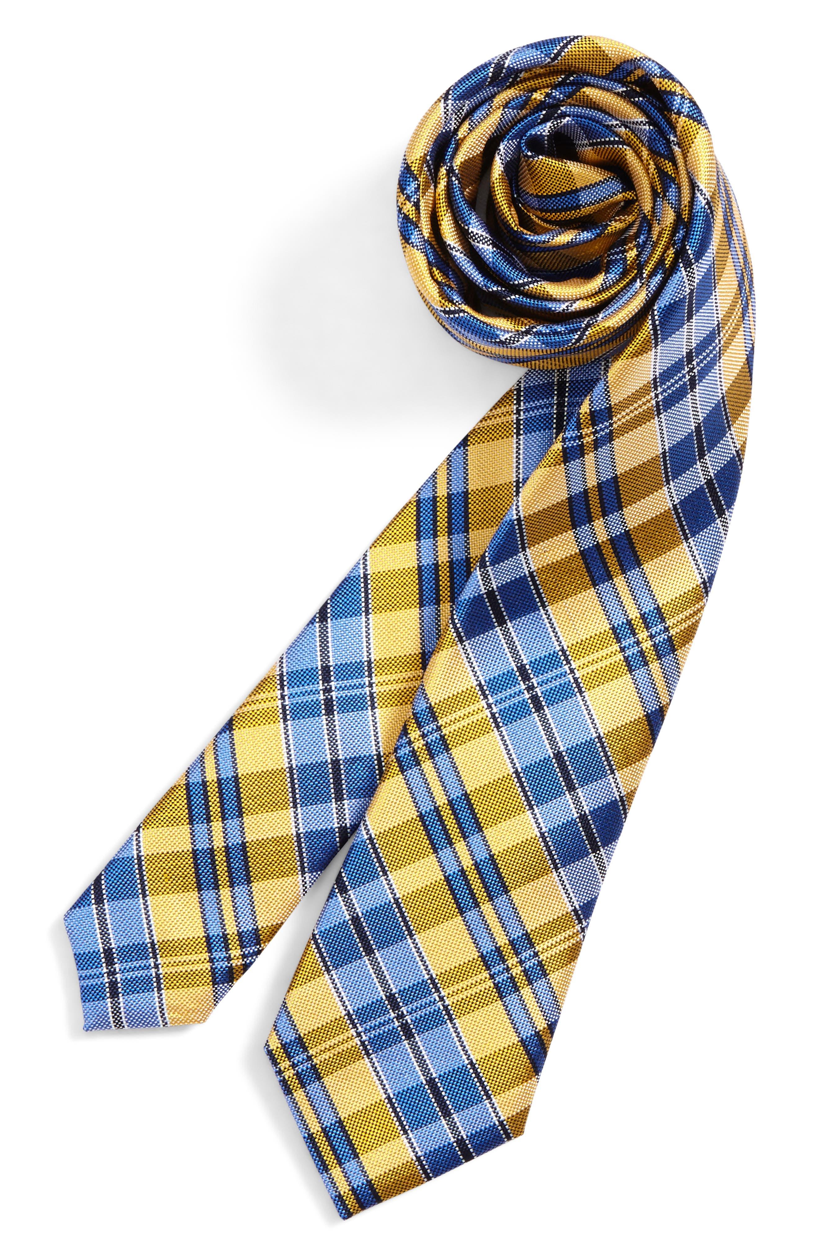 Check Silk Tie,                         Main,                         color, Gold