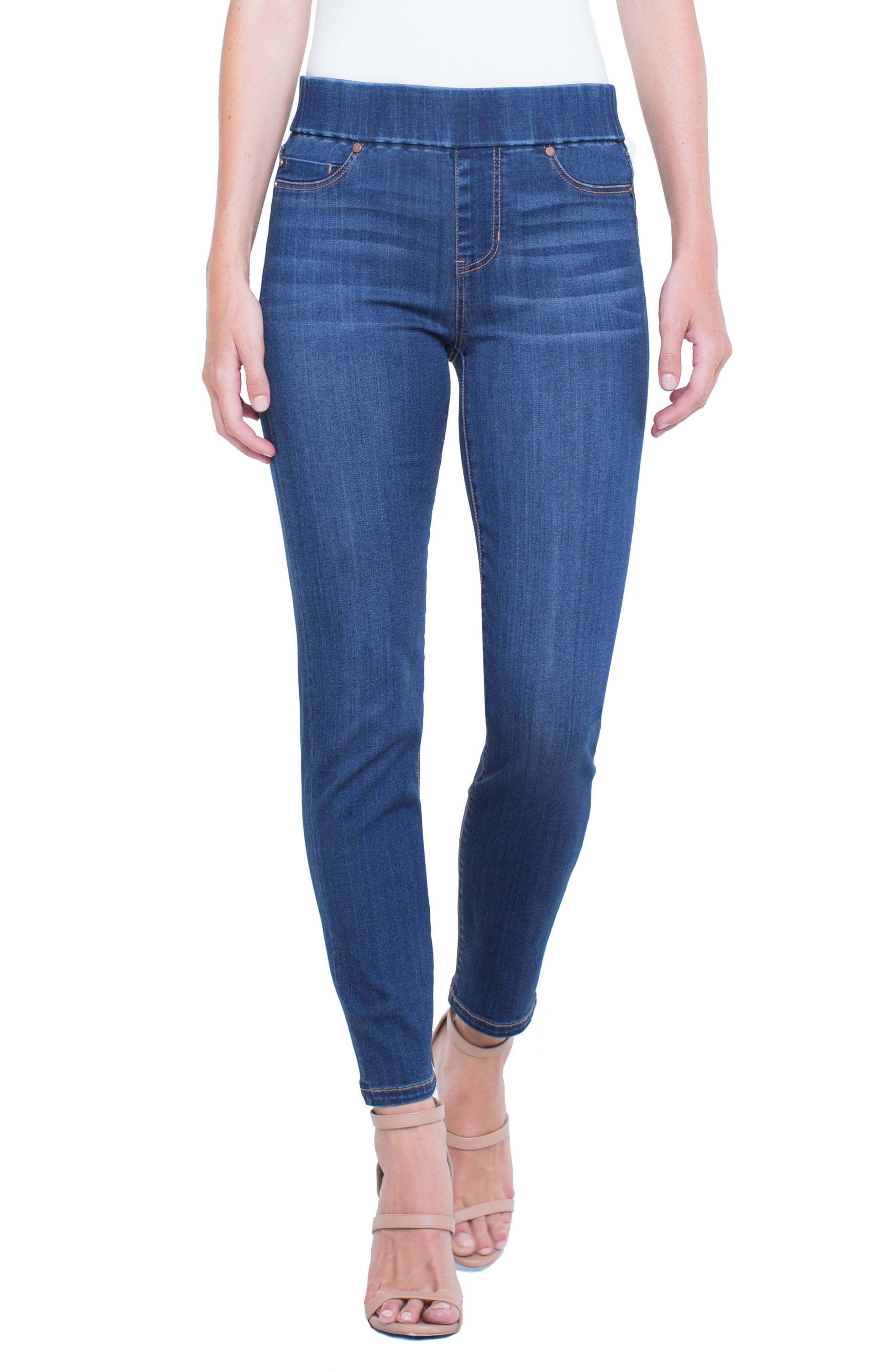 Meridith Pull-On Slim Ankle Jeans,                         Main,                         color, Elysian Dark