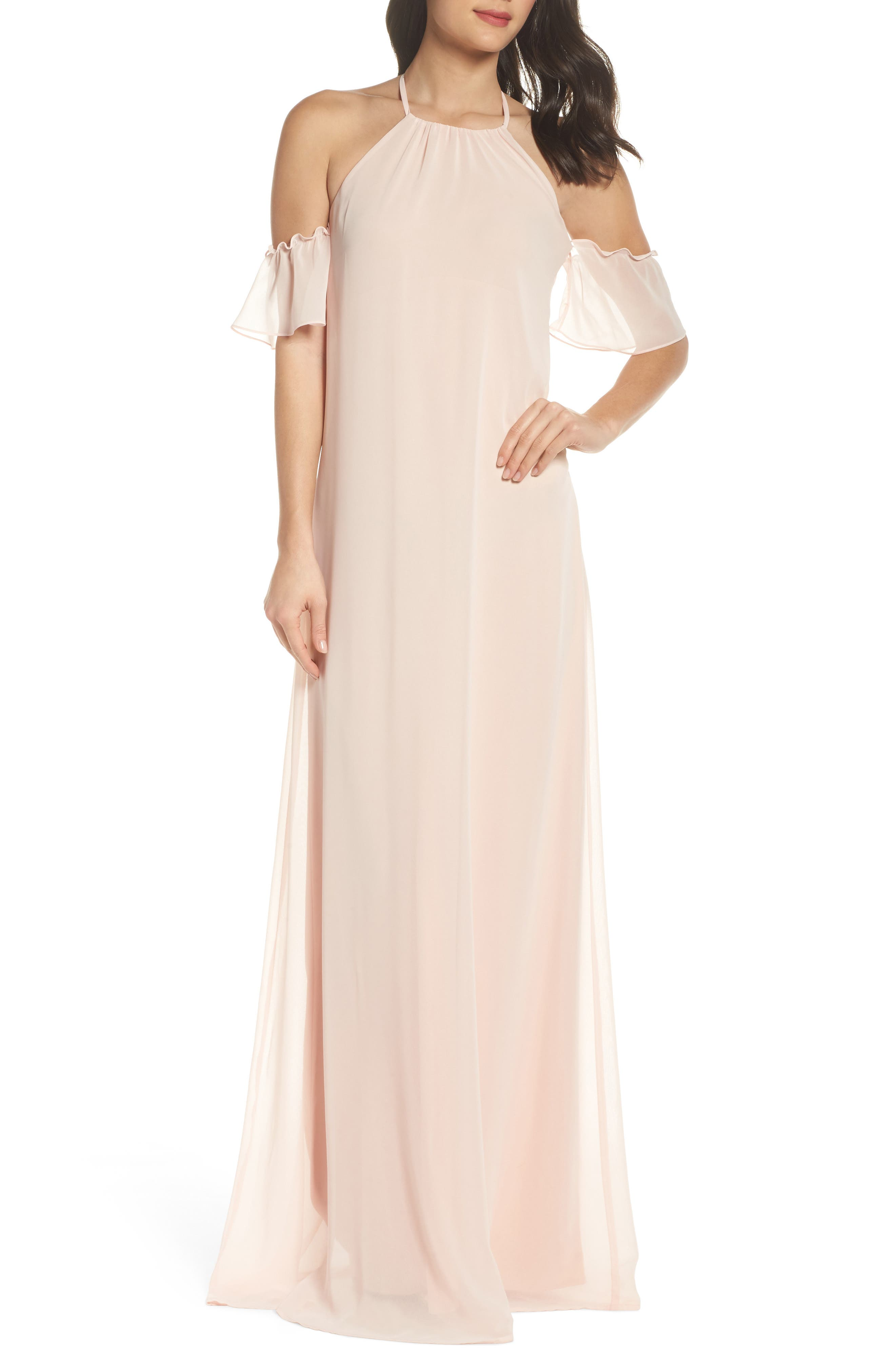 Main Image - nouvelle AMSALE Ruffle Sleeve Halter Gown