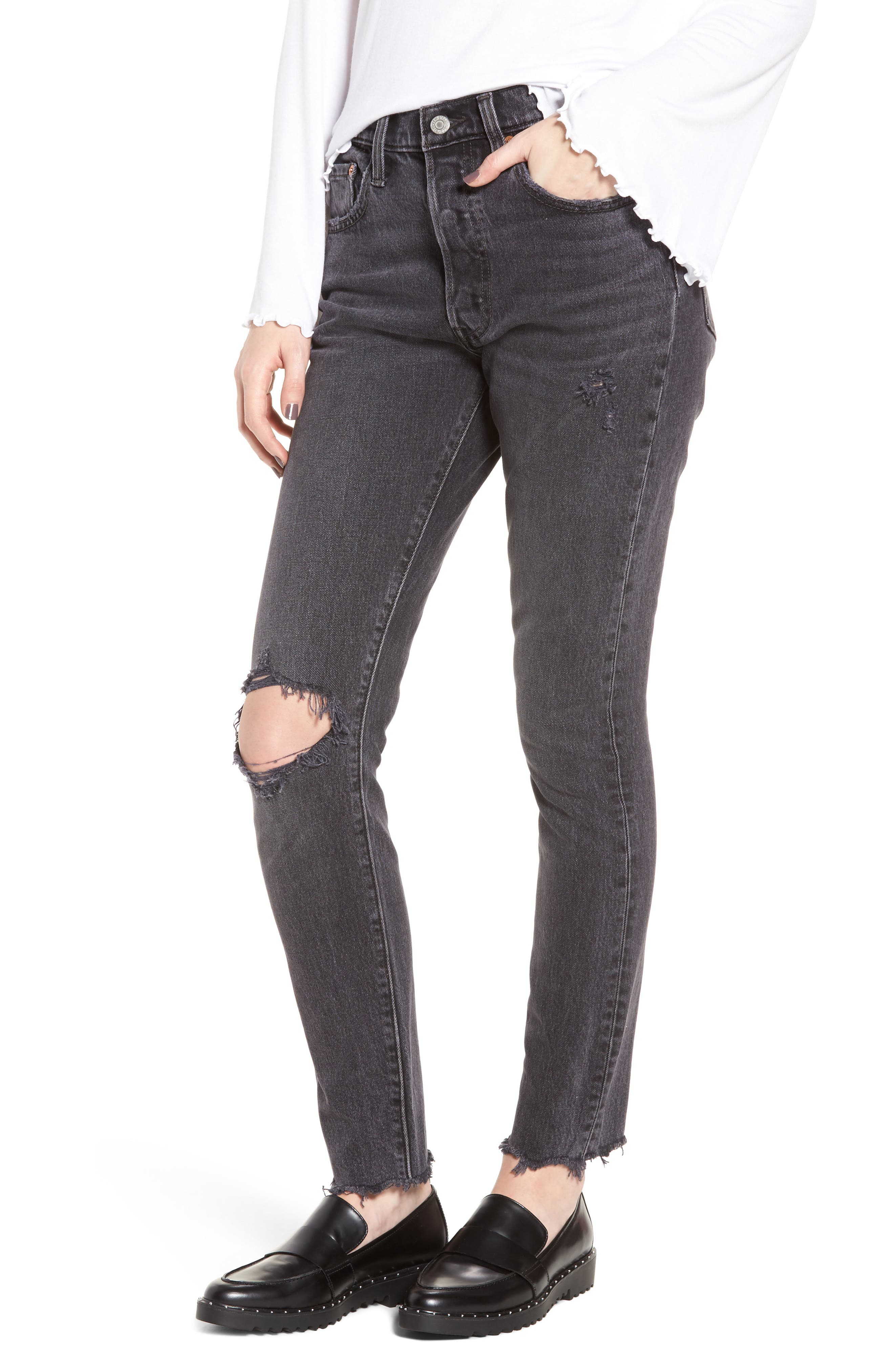 501<sup>®</sup> High Waist Ripped Skinny Jeans,                             Main thumbnail 1, color,                             Well Worn Black