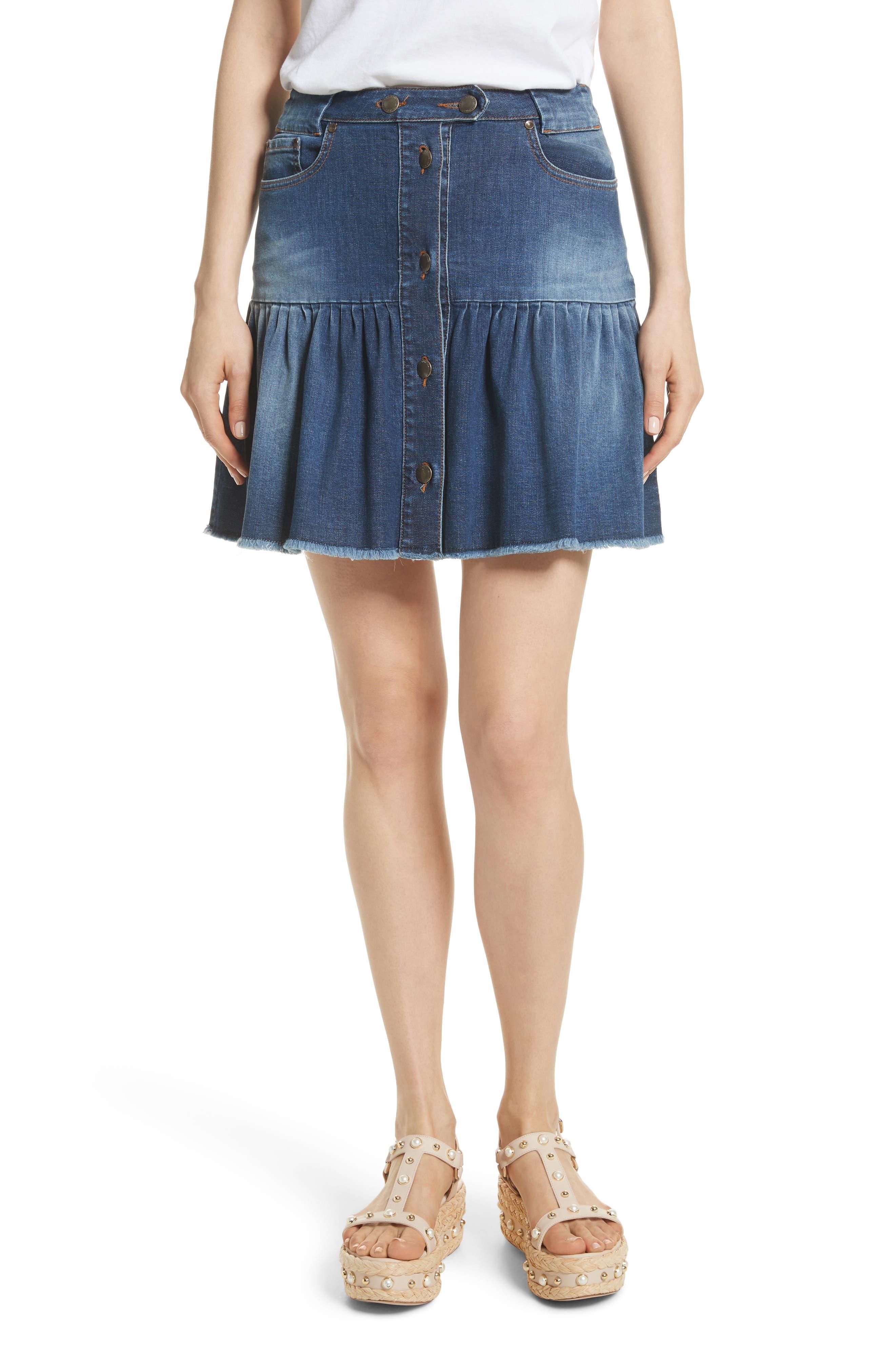 RED Valentino Ruffle Denim Miniskirt