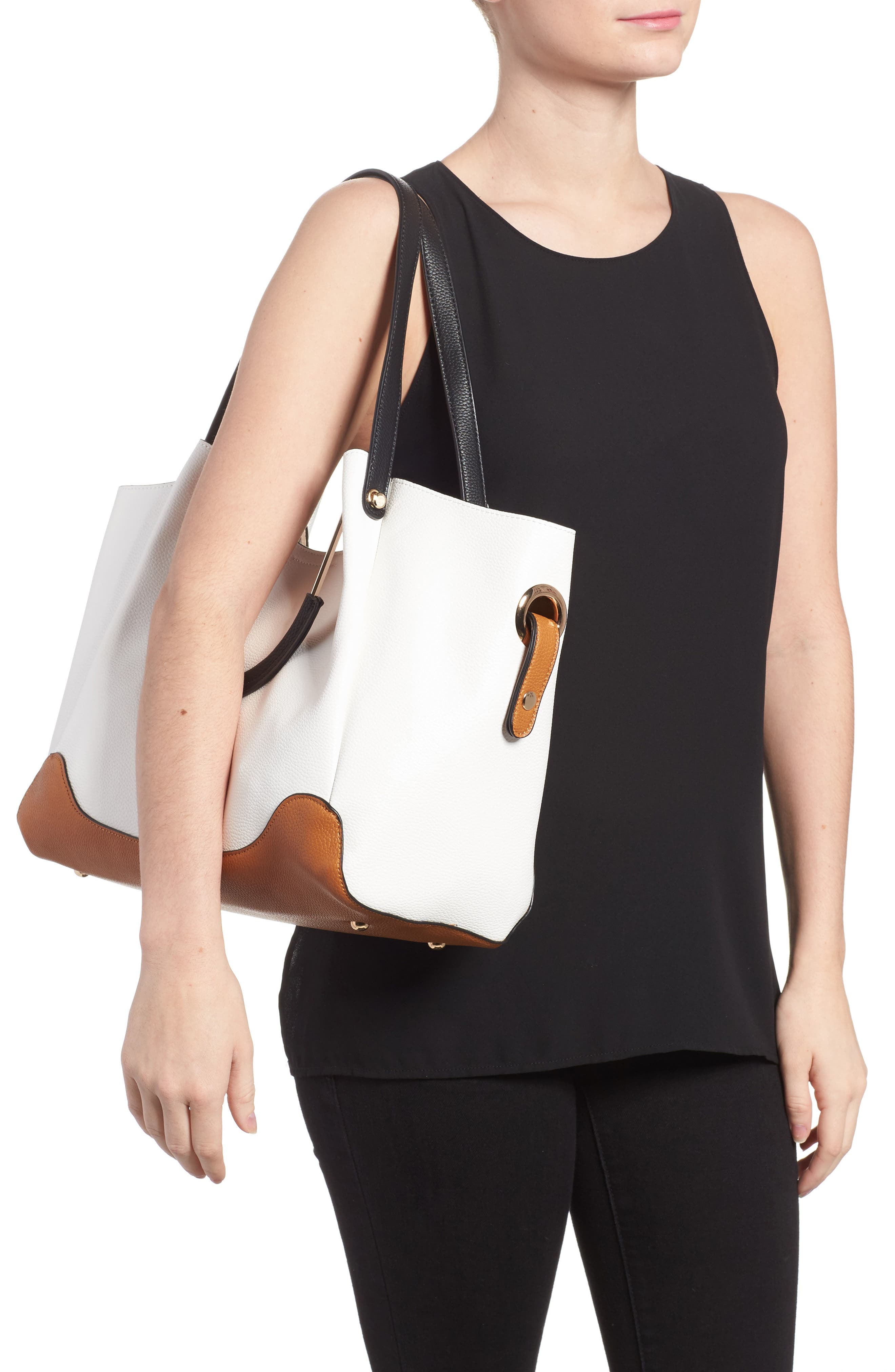 Alternate Image 2  - Sondra Roberts Faux Leather Tote & Canvas Pouch