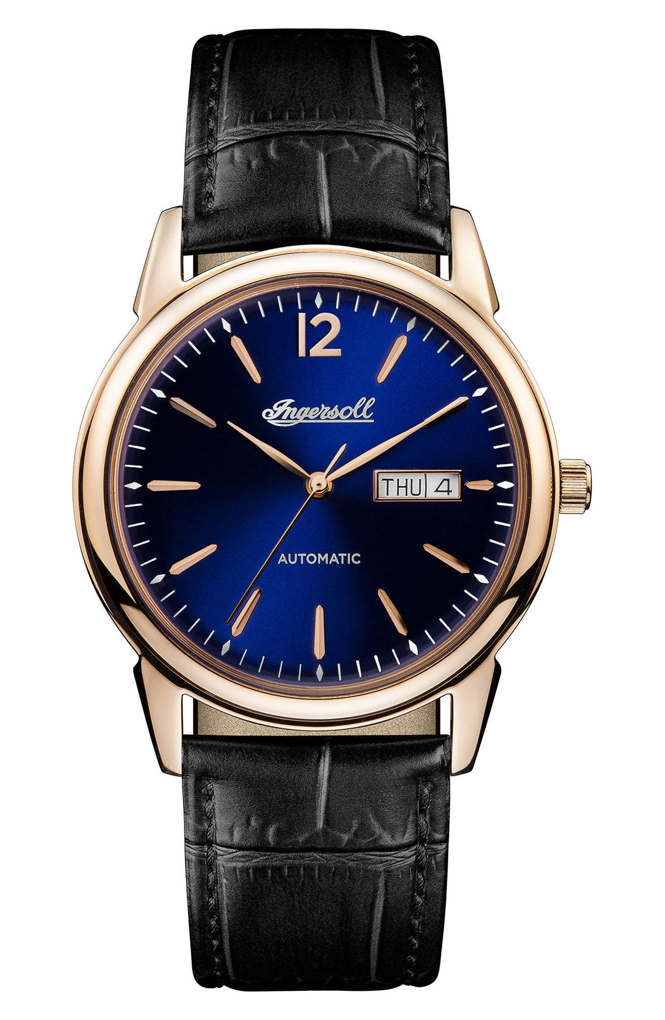 Ingersoll New Haven Automatic Leather Strap Watch, 40mm,                         Main,                         color, Black/ Blue/ Rose Gold