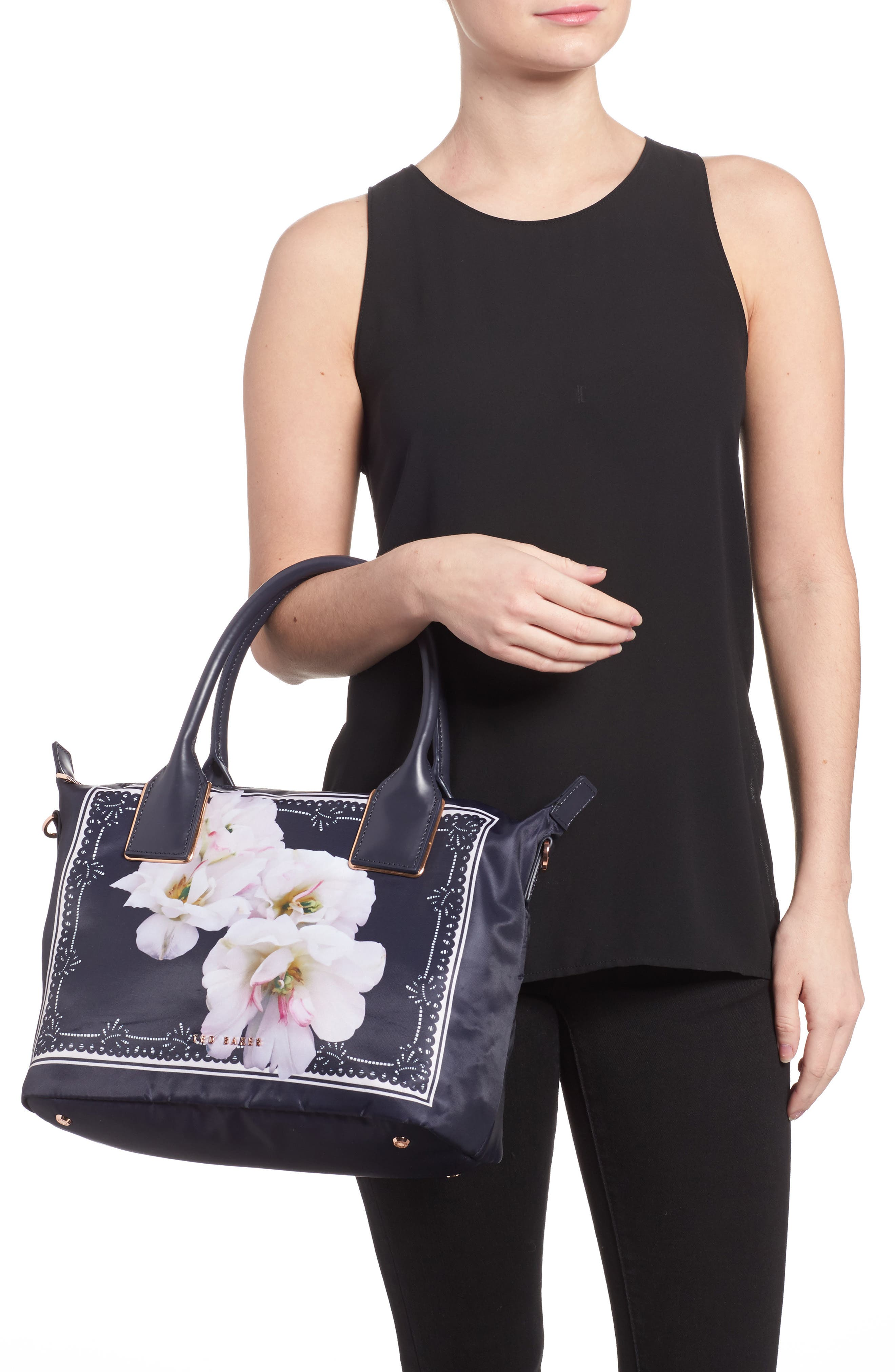 Small Kimhas Gardenia Tote,                             Alternate thumbnail 2, color,                             Dark Blue