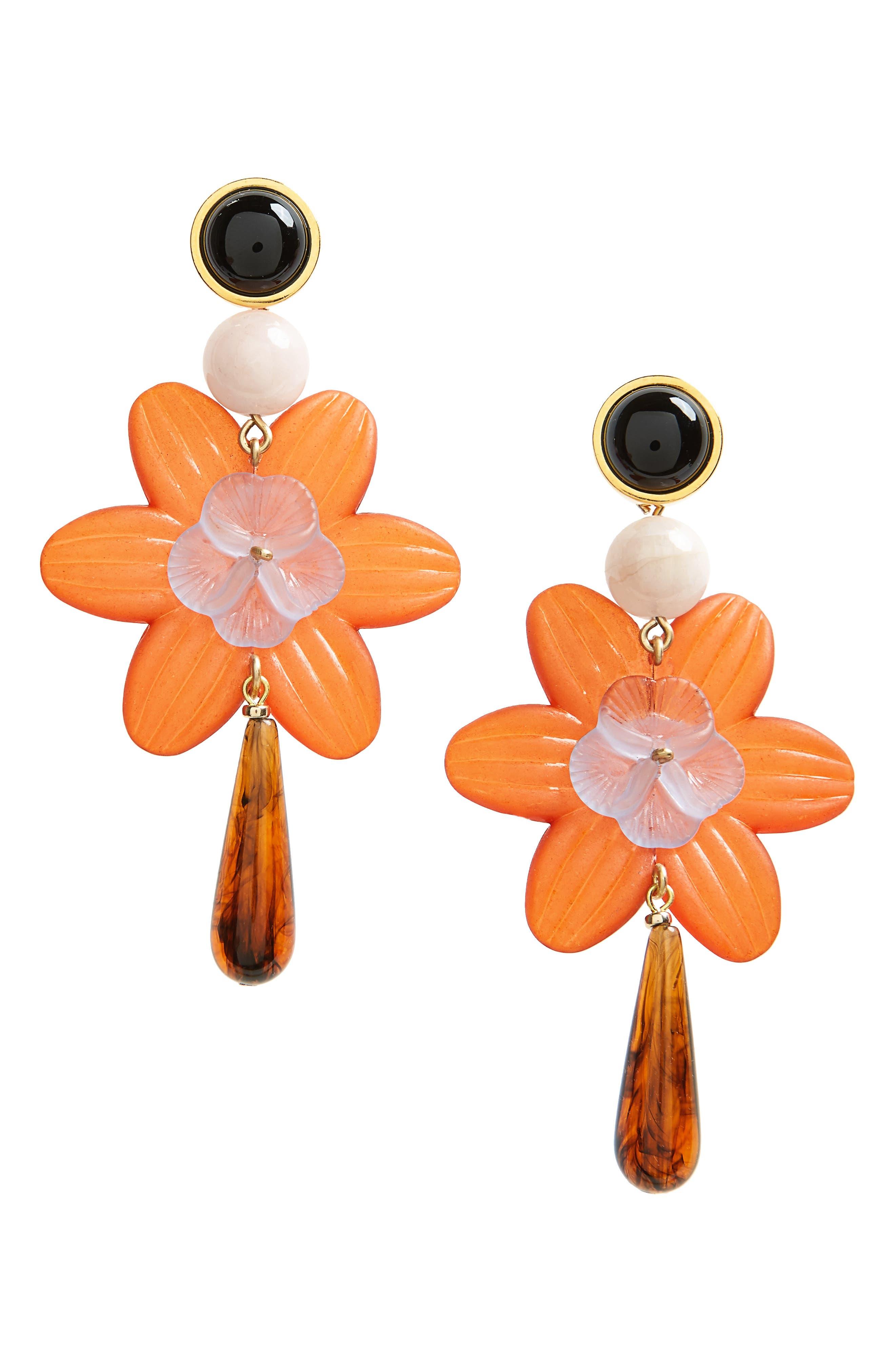 Sal Flower Drop Earrings,                         Main,                         color, Red Multi