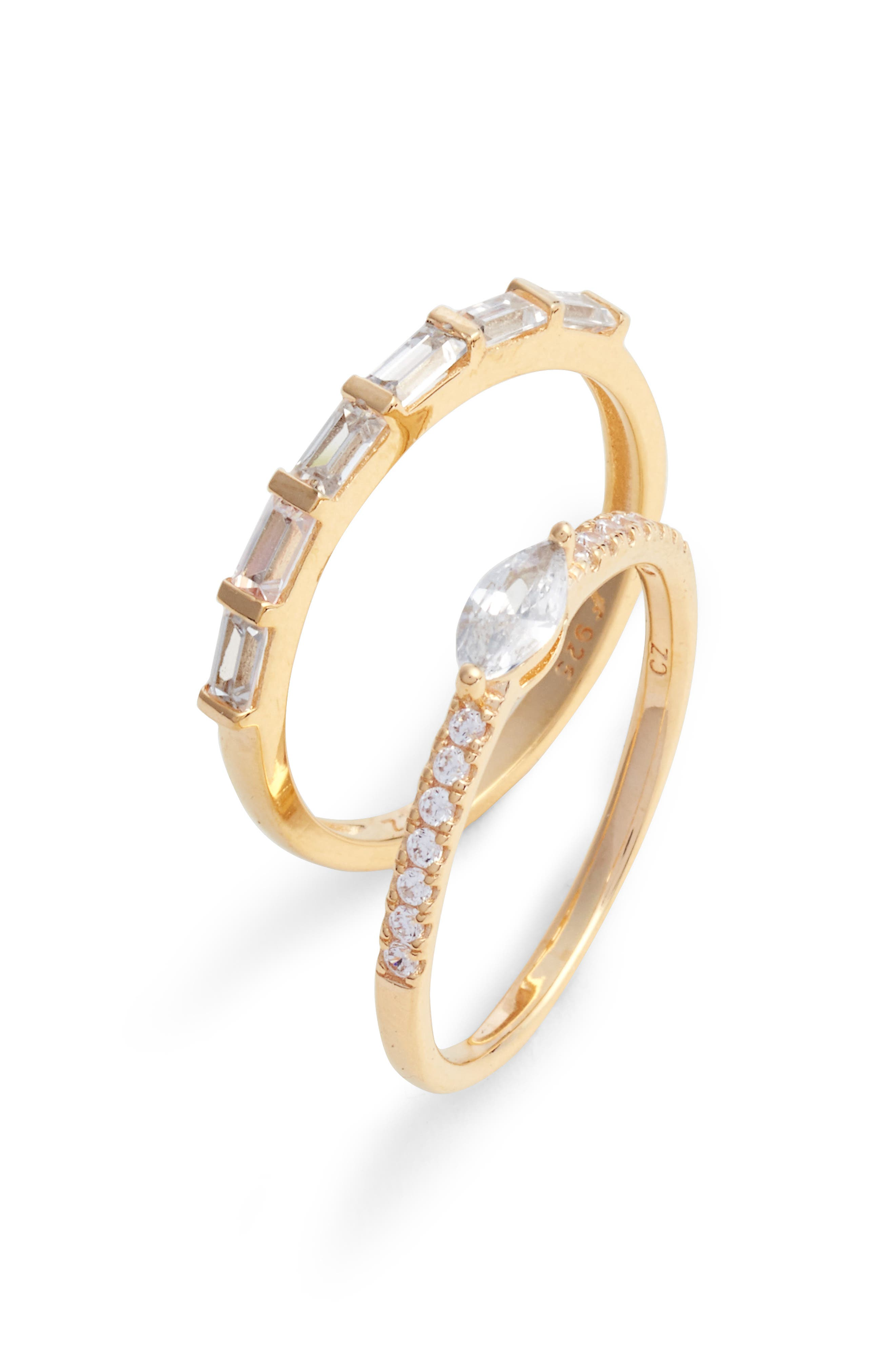 Set of 2 Cubic Zirconia Stacking Rings,                             Main thumbnail 1, color,                             Gold