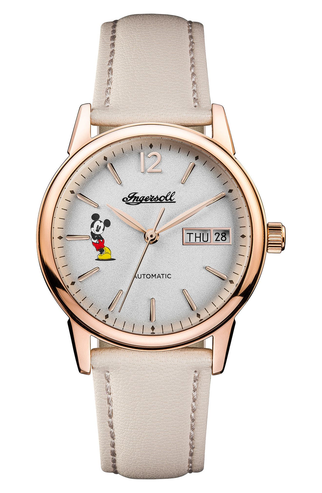 Ingersoll New Haven Disney Automatic Leather Strap Watch, 34mm,                         Main,                         color, Nude/ White/ Rose Gold