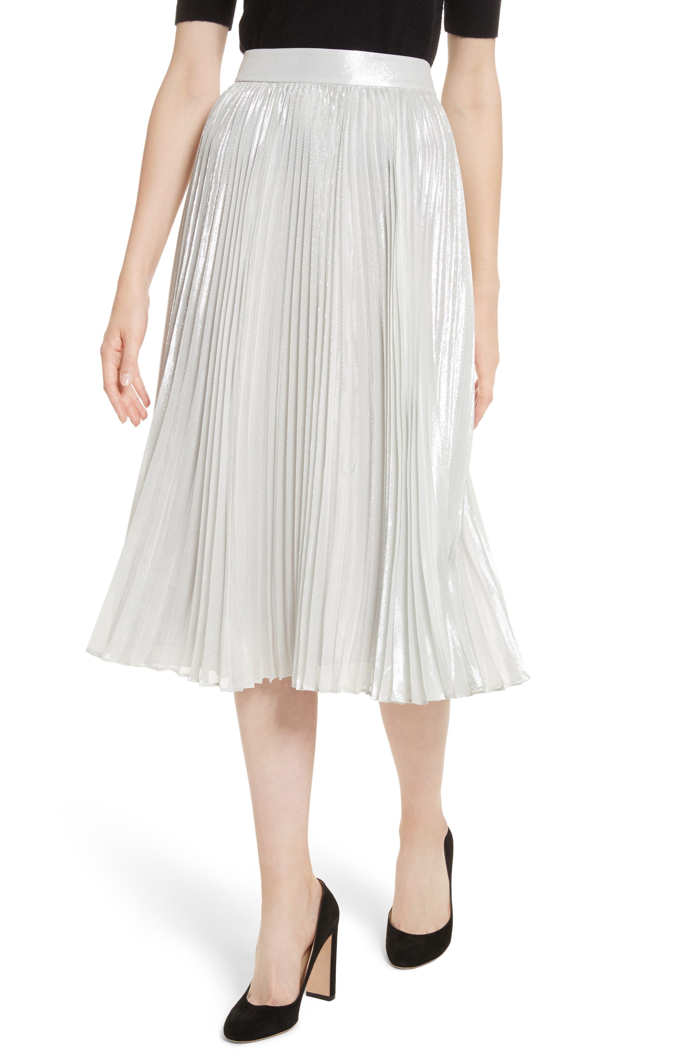 metallic pleat midi skirt,                             Alternate thumbnail 4, color,                             Silver