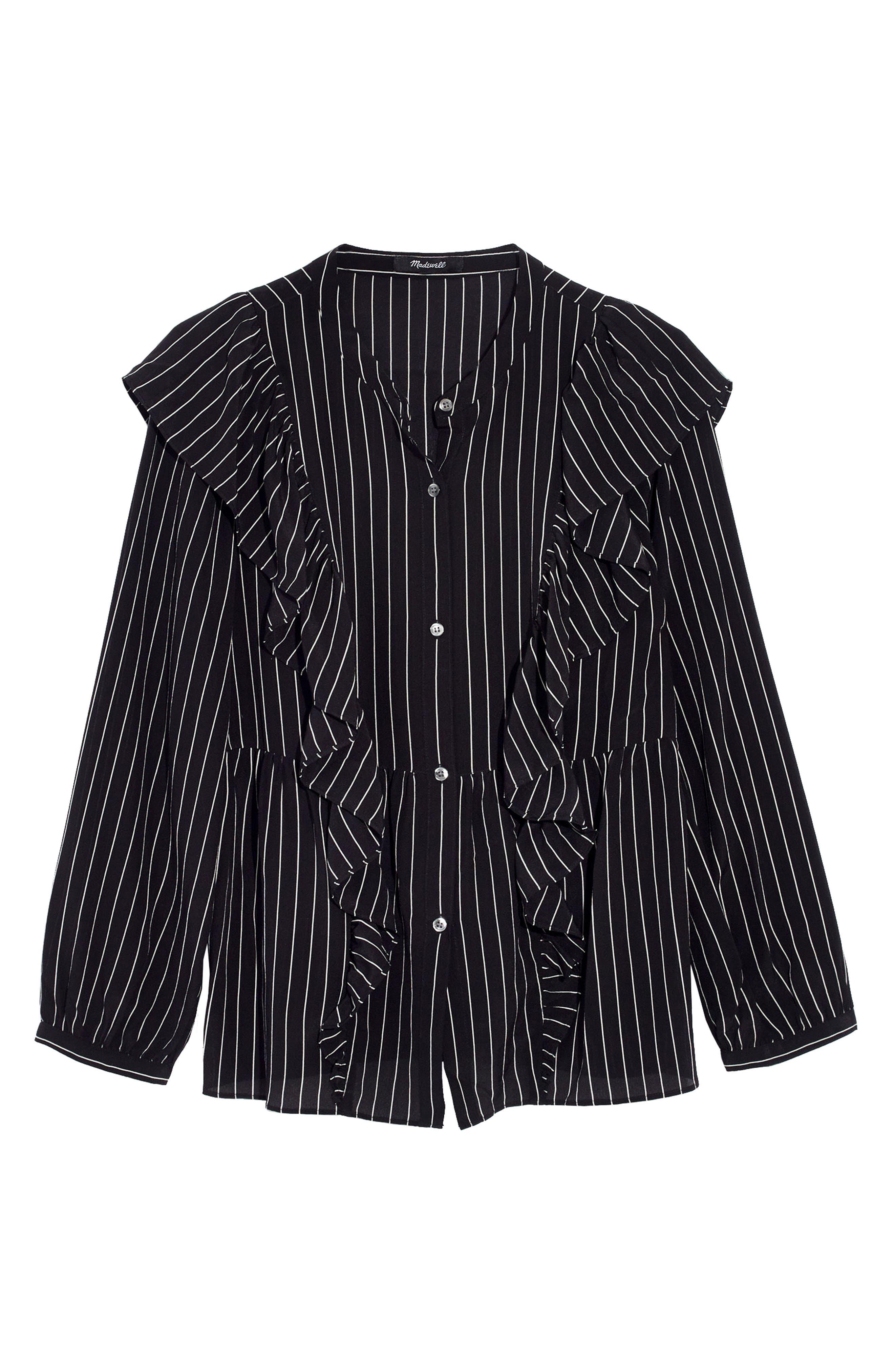 Ruffle Silk Top,                             Alternate thumbnail 4, color,                             Clean True Black