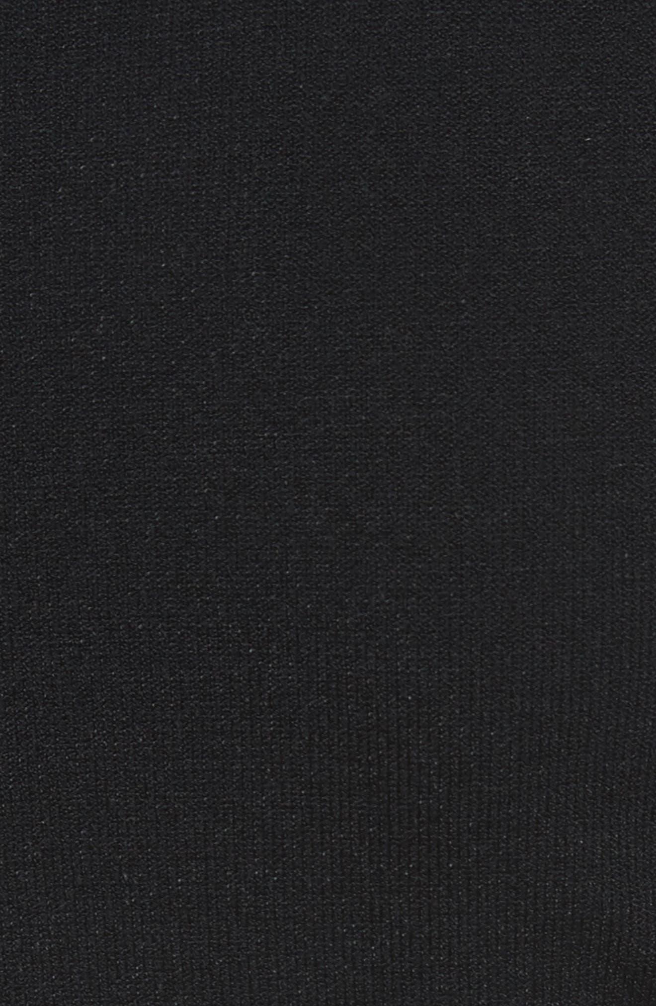 Intarsia Leaf Print Dress,                             Alternate thumbnail 6, color,                             White/ Black/ Evergreen