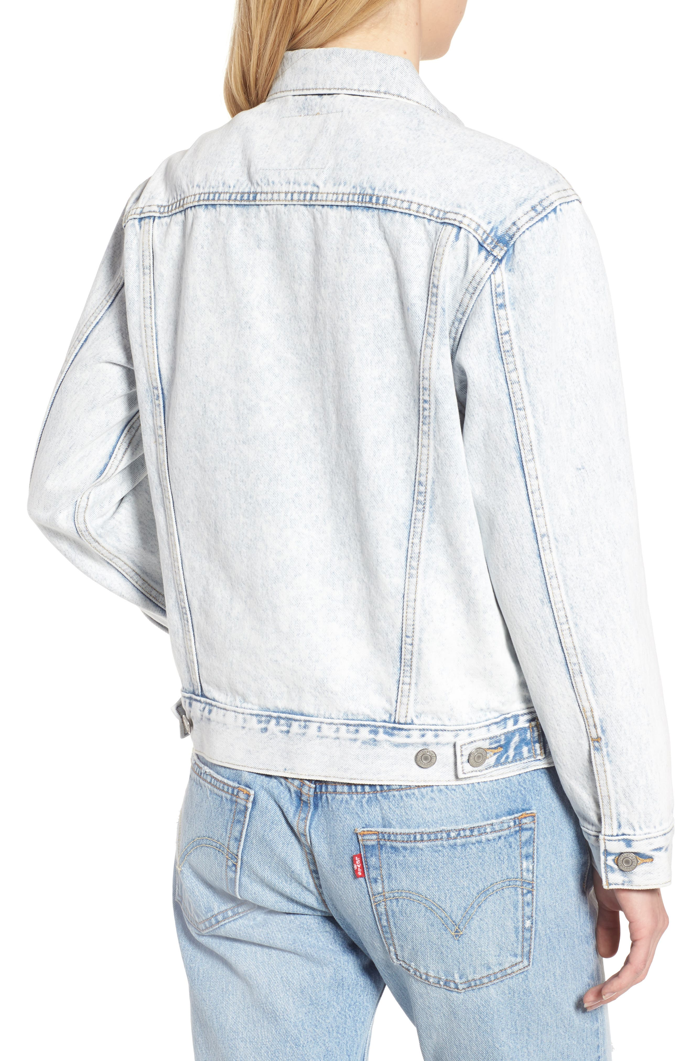 Ex-Boyfriend Denim Trucker Jacket,                             Alternate thumbnail 2, color,                             Static Sound