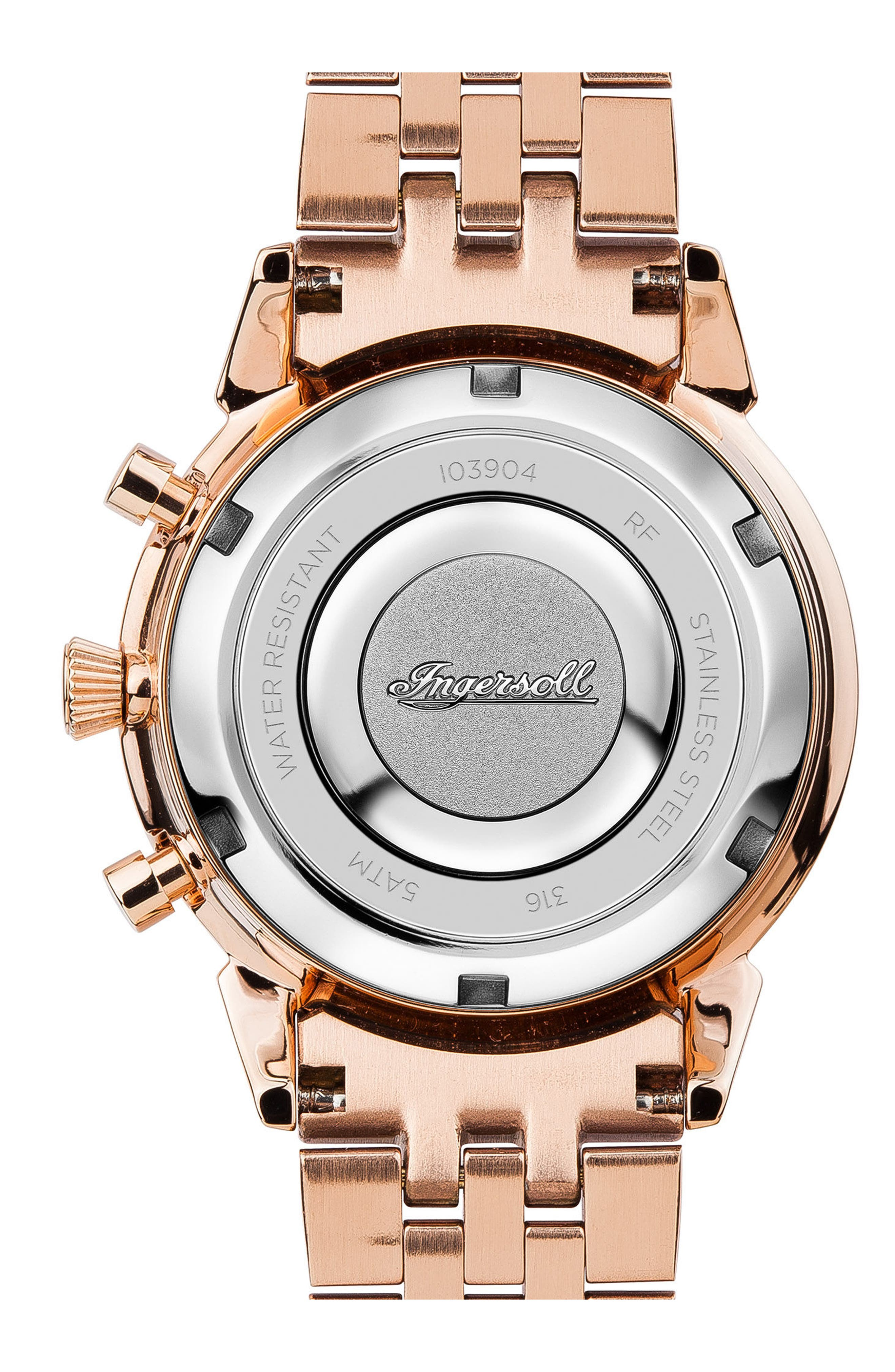 Ingersoll Crystal Accent Chronograph Bracelet Watch, 35mm,                             Alternate thumbnail 2, color,                             Gold/ Rose Gold