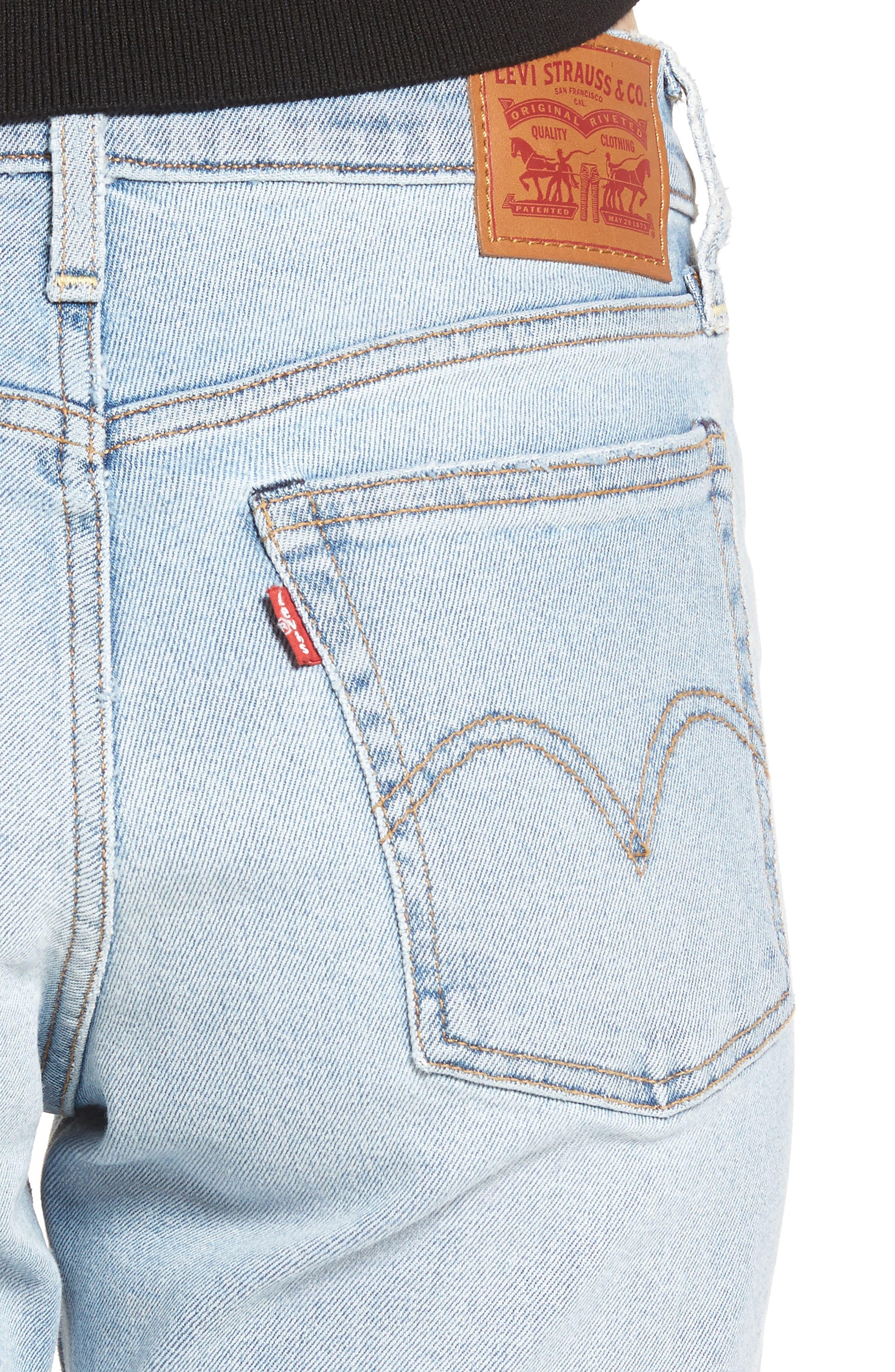 Wedgie Icon Fit High Waist Crop Jeans,                             Alternate thumbnail 4, color,                             Bauhaus Blues
