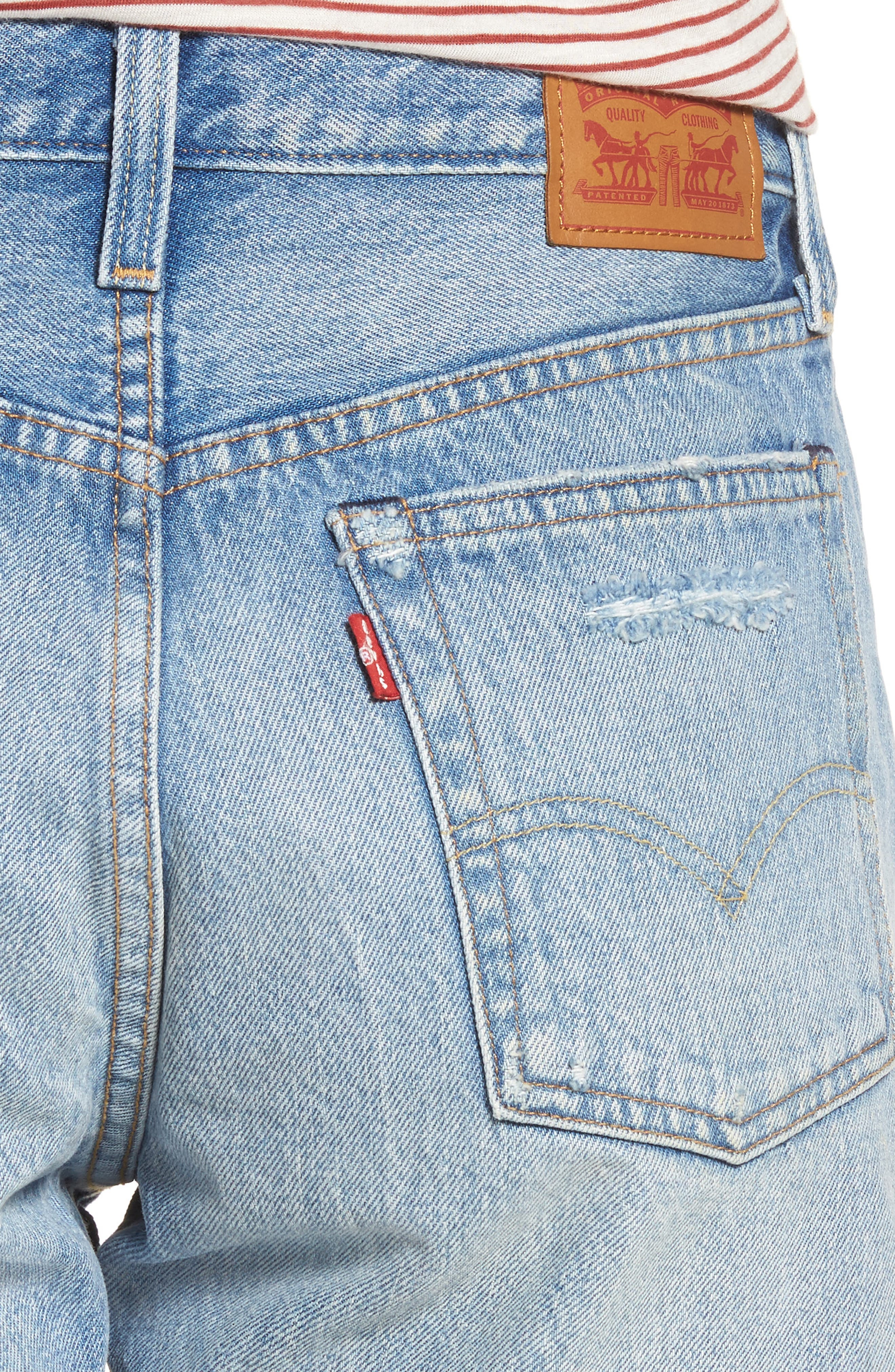 Indie Shredded Cutoff Denim Shorts,                             Alternate thumbnail 4, color,                             Let It Rip