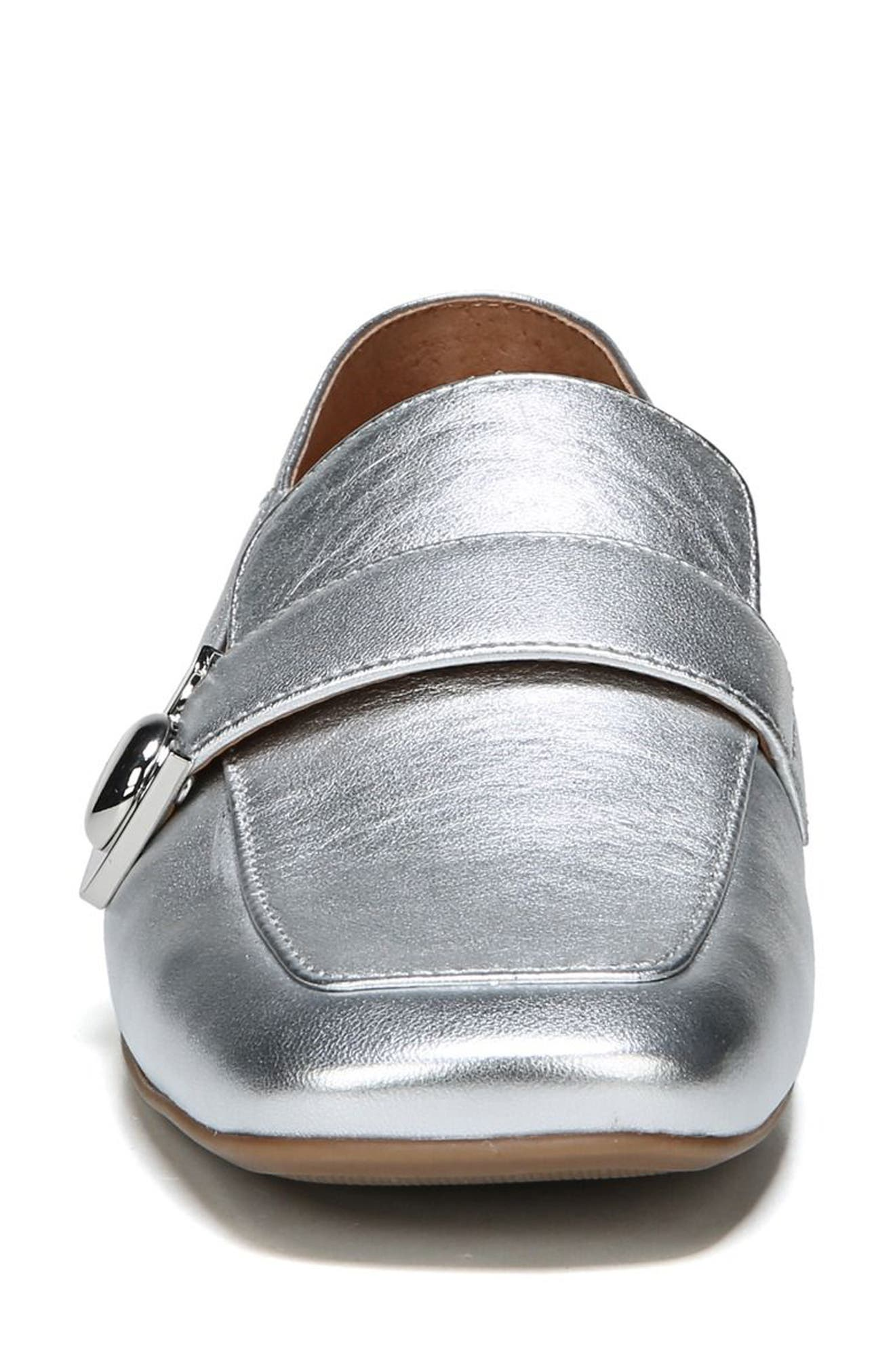 Valeres Loafer,                             Alternate thumbnail 6, color,                             Silver Metallic Leather