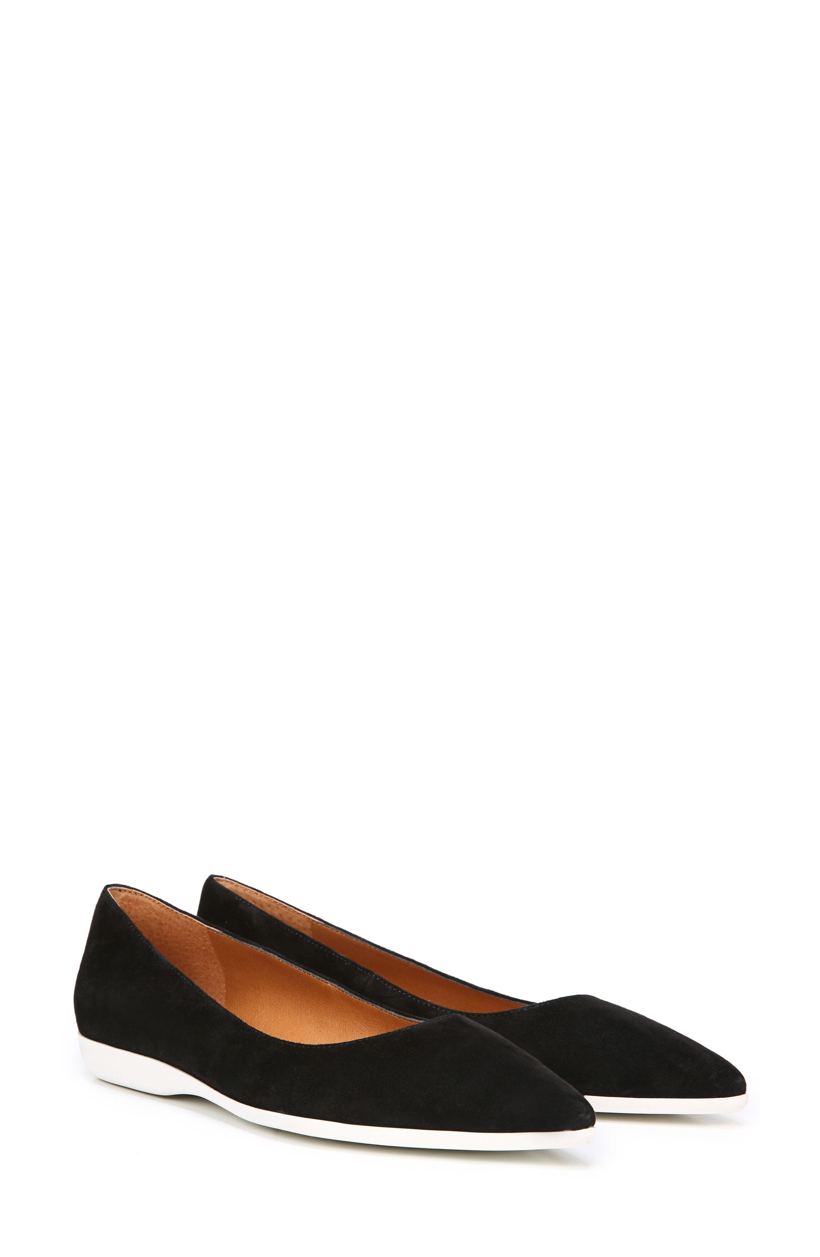 Dexie Pointy Toe Flat,                             Alternate thumbnail 2, color,                             Black Suede