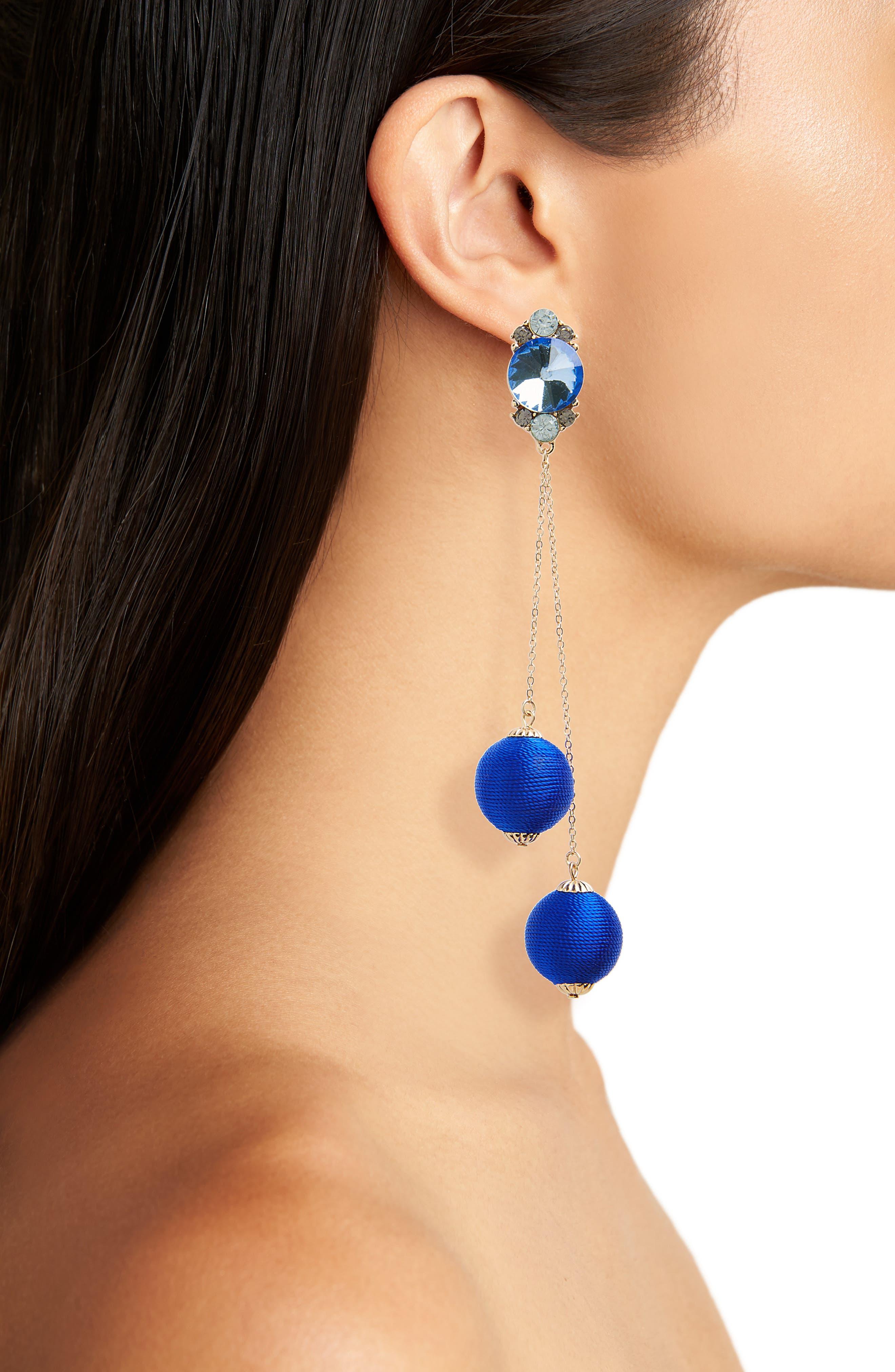 Alternate Image 2  - Kitsch Crystal & Ball Drop Earrings