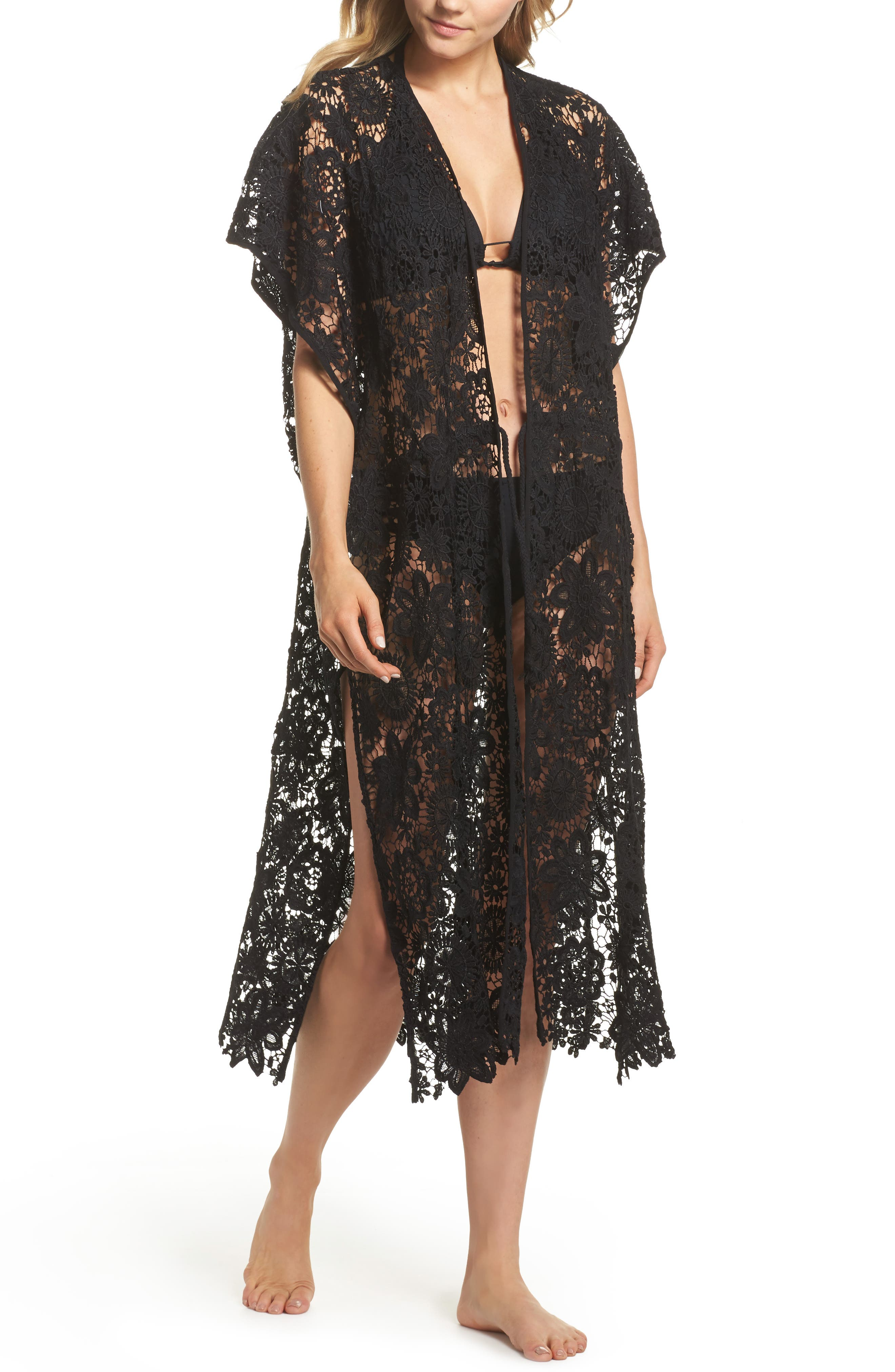Star Coral Lace Cover-Up Tunic,                             Main thumbnail 1, color,                             Black
