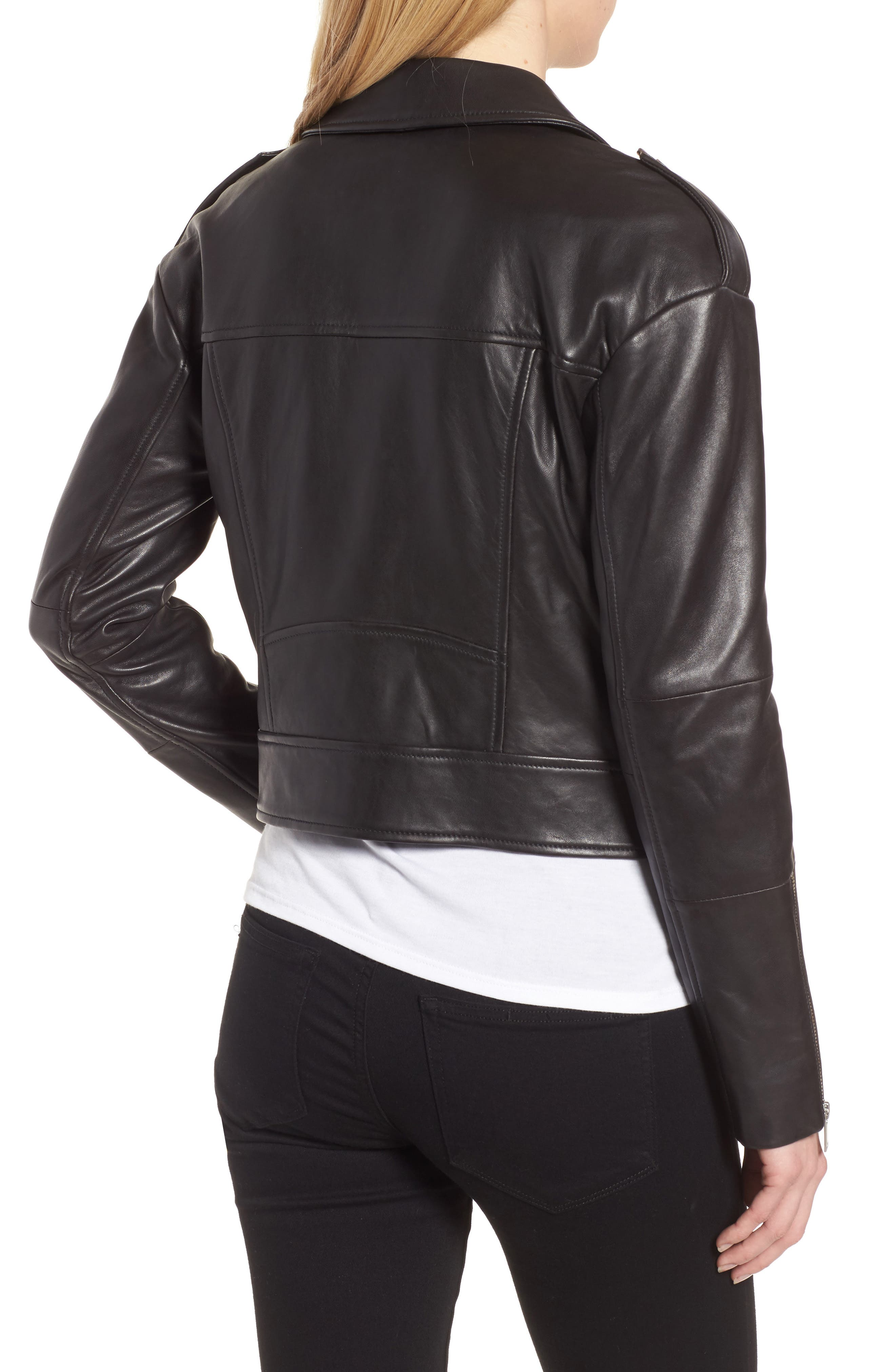 Crop Leather Biker Jacket,                             Alternate thumbnail 2, color,                             Black