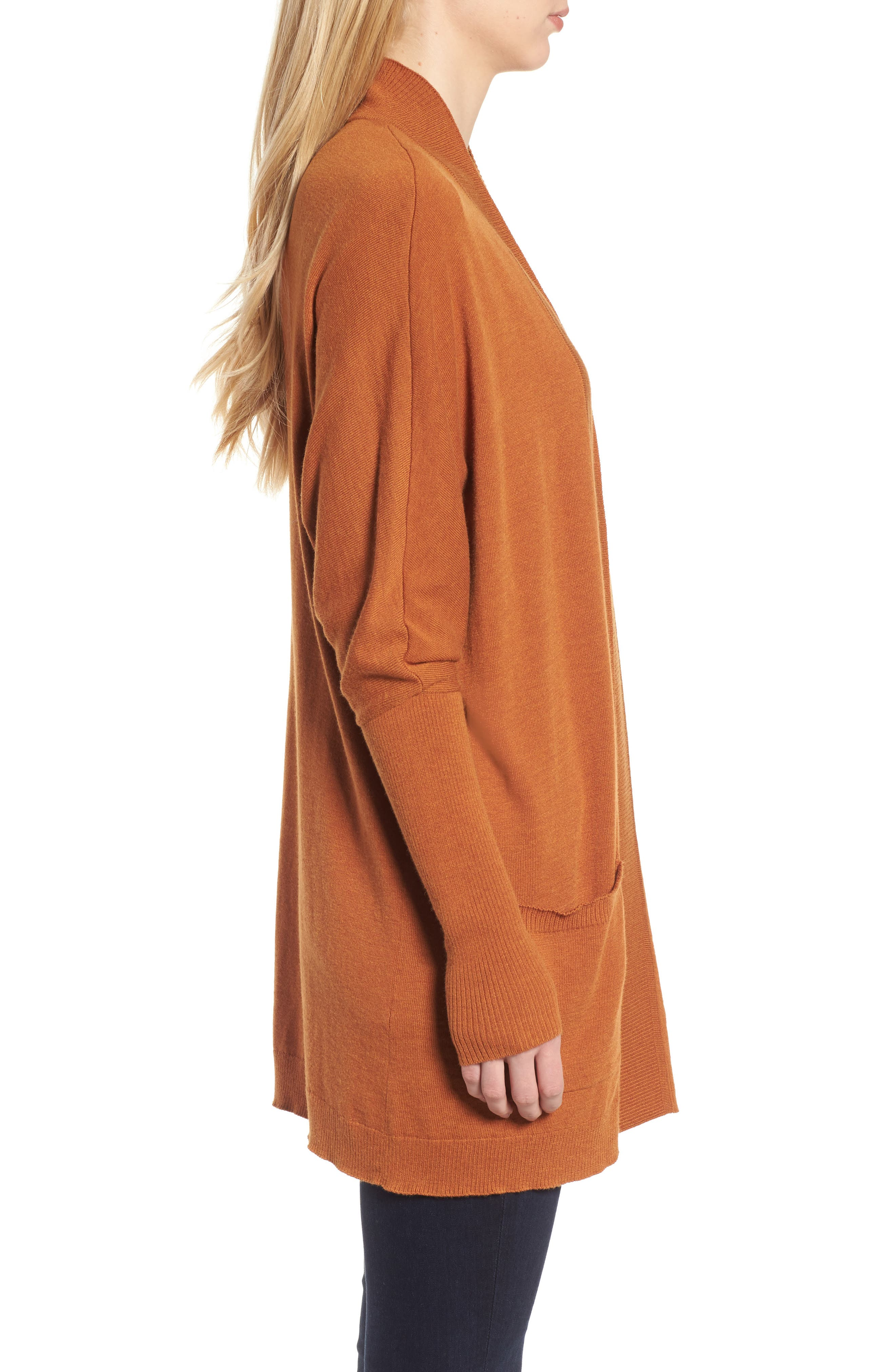 Open Front Cardigan,                             Alternate thumbnail 3, color,                             Tan Adobe