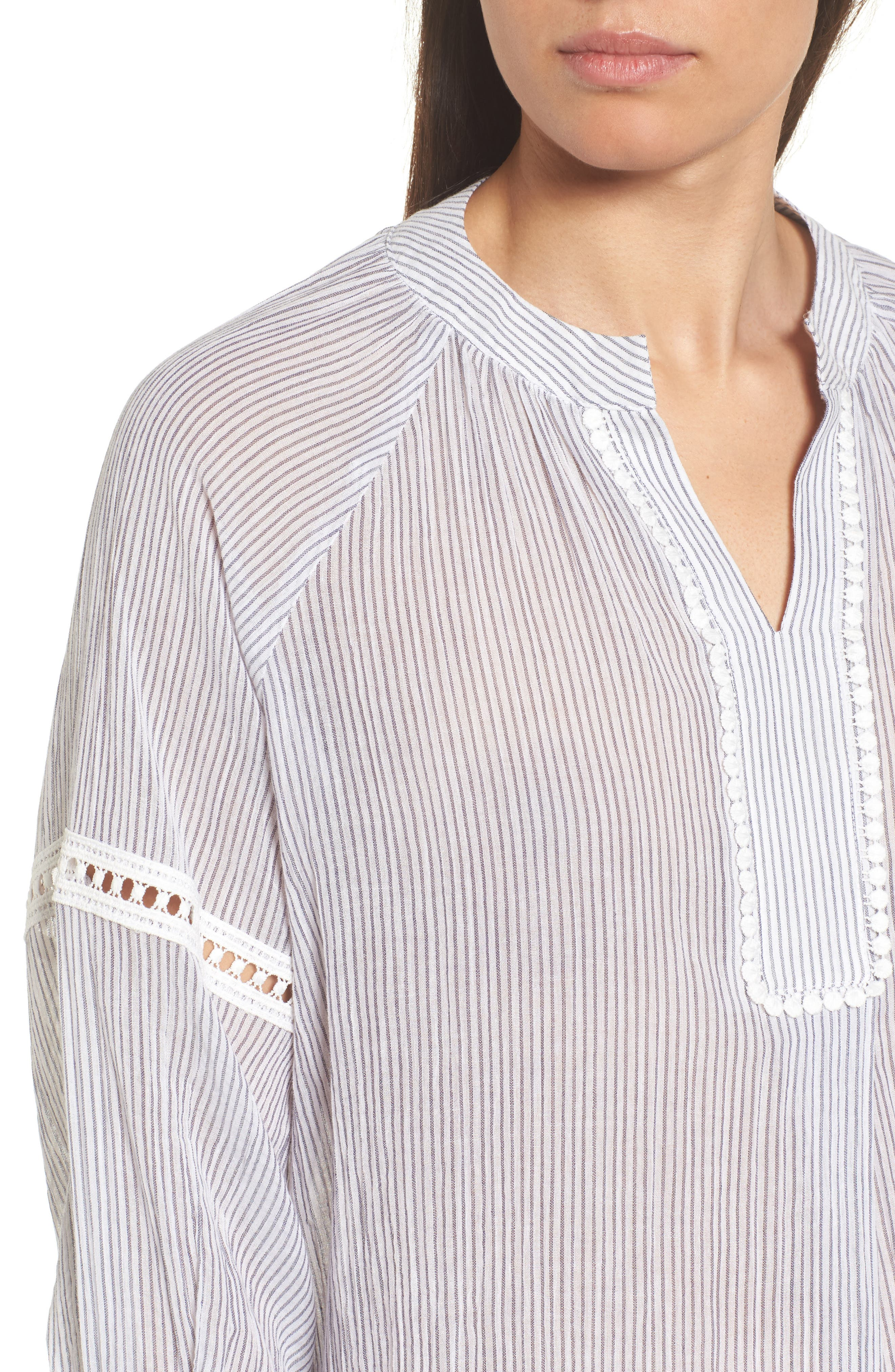 Tie Sleeve Woven Tunic,                             Alternate thumbnail 4, color,                             Navy- White Stripe