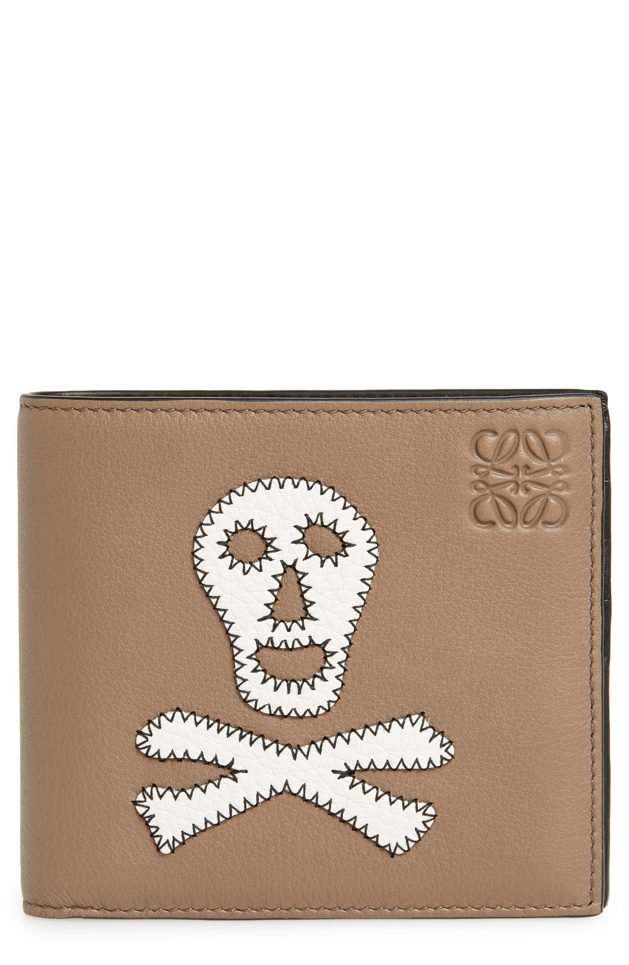 Skull Leather Bifold Wallet,                             Main thumbnail 1, color,                             Dark Taupe/ Tan/ White