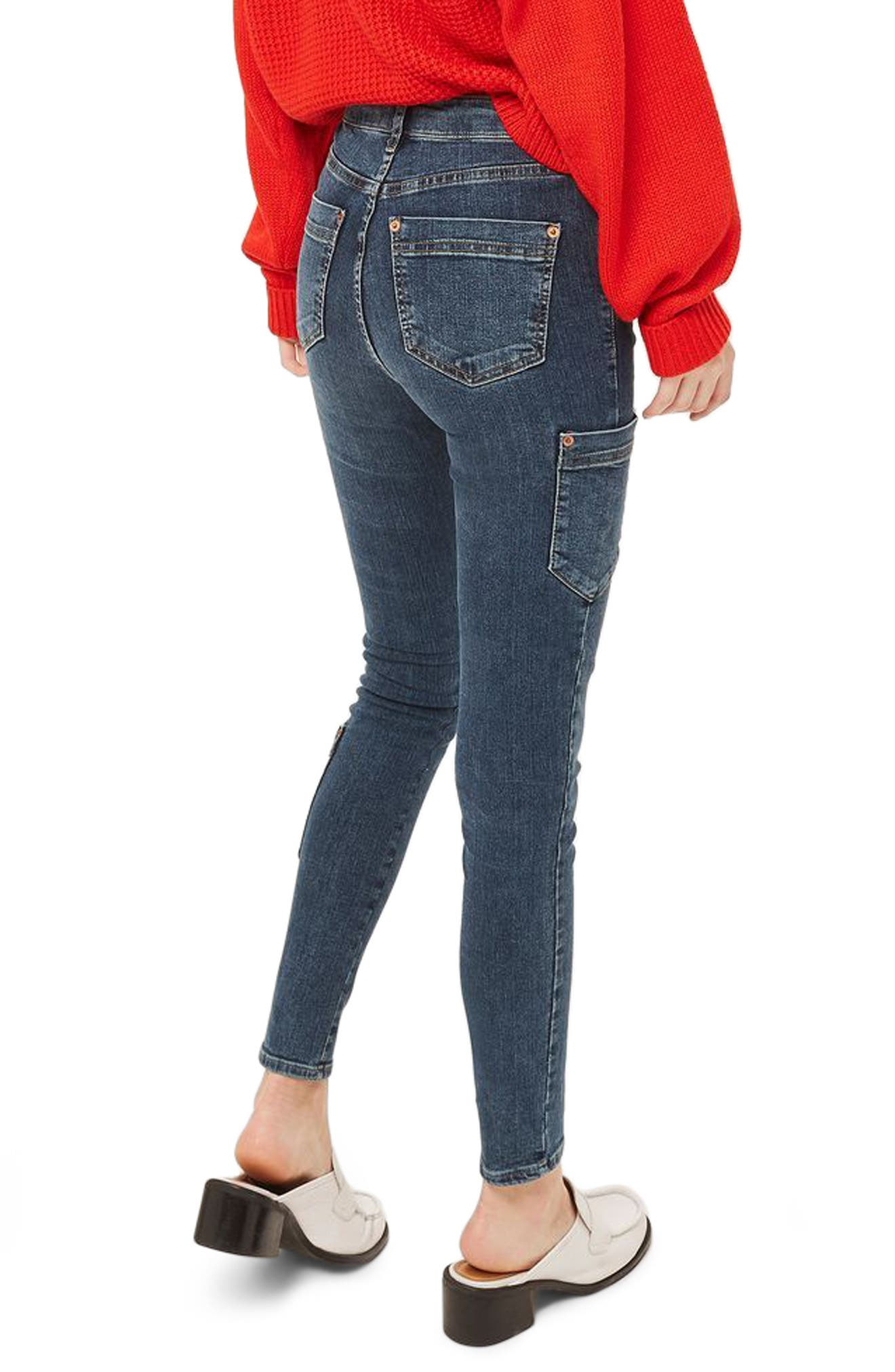 Jamie Utility High Rise Skinny Jeans,                             Main thumbnail 1, color,                             Mid Blue Denim