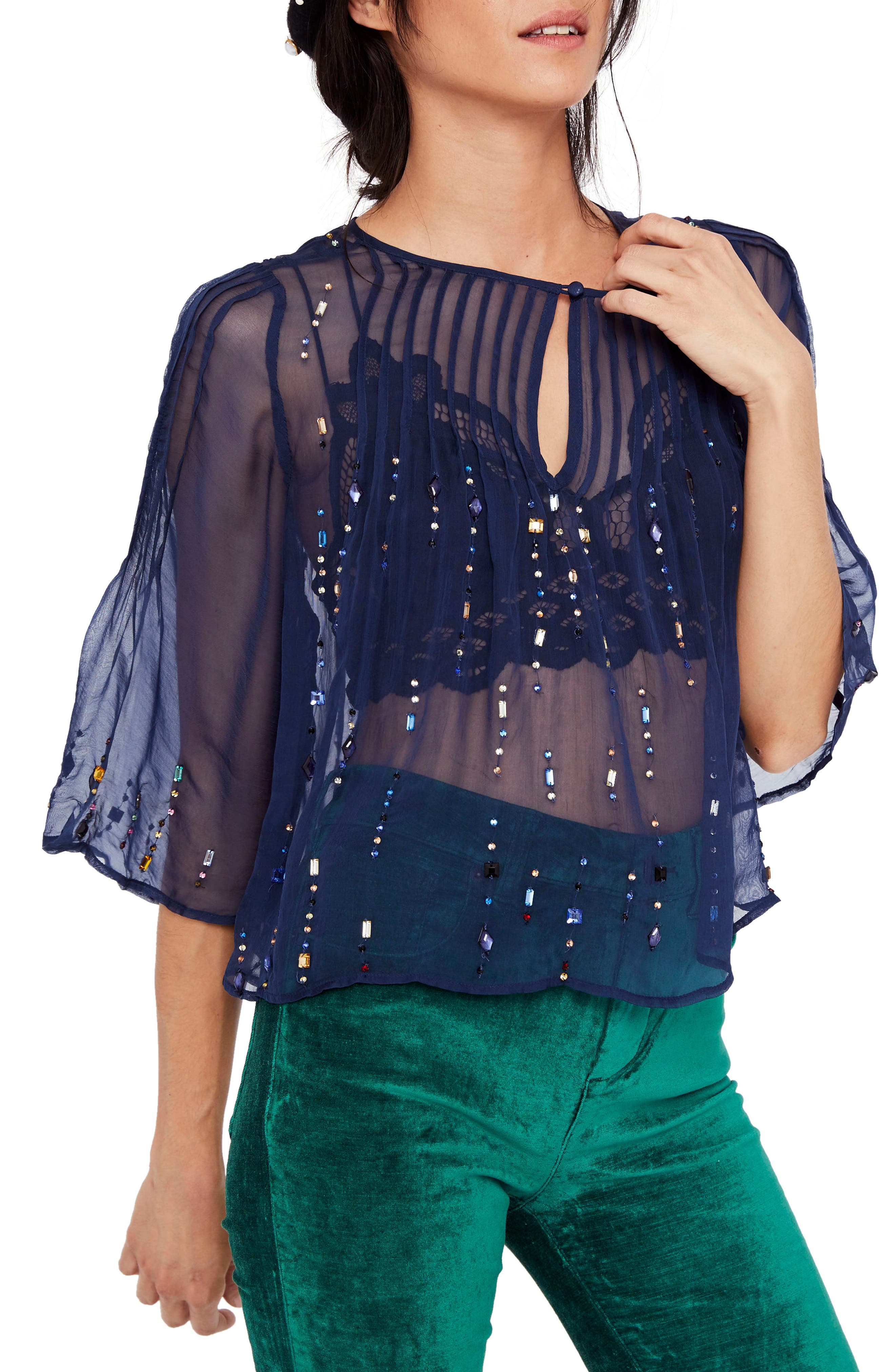 Jewel Box Embellished Sheer Top,                         Main,                         color, Sapphire