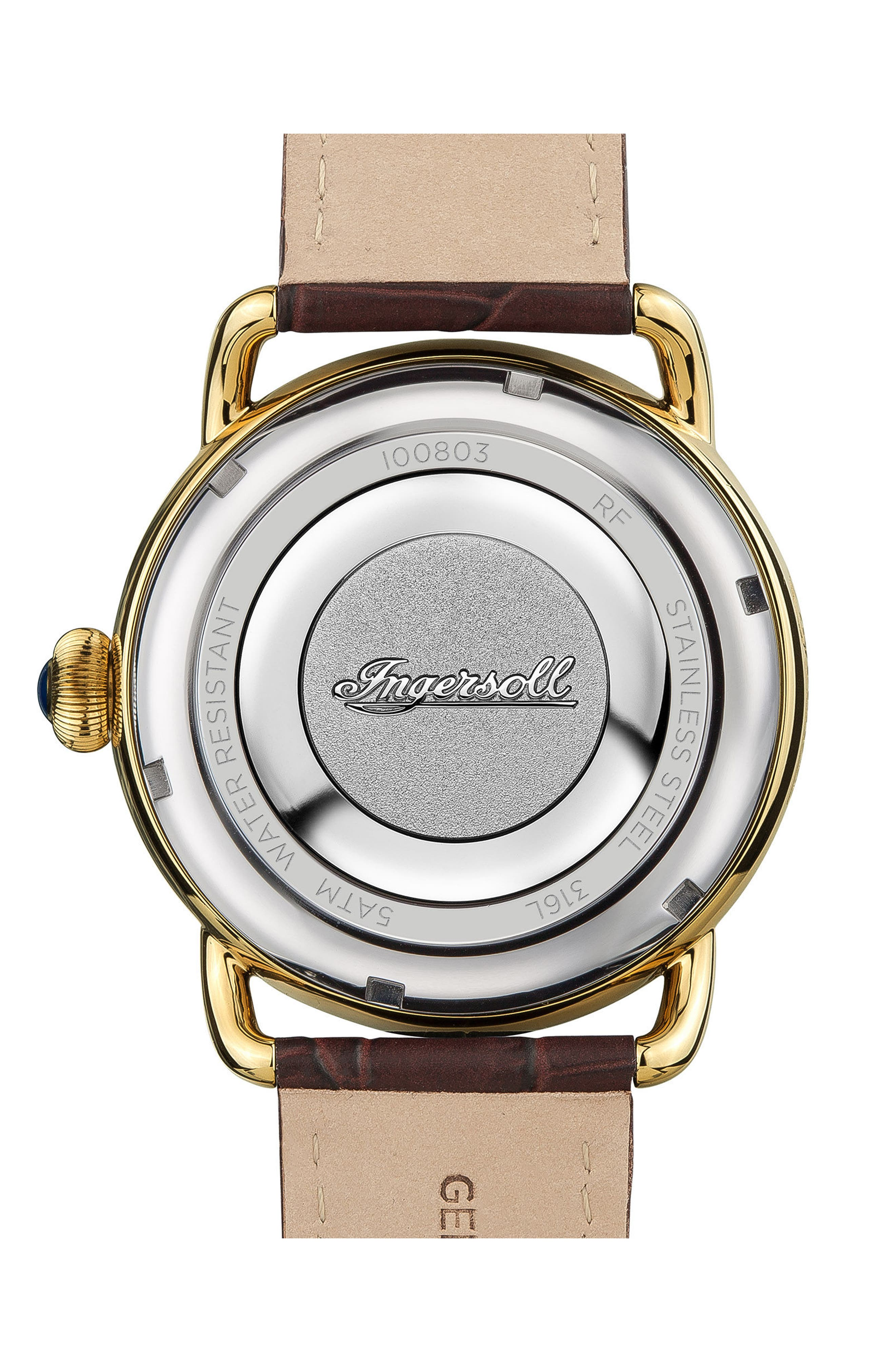 Ingersoll New England Leather Strap Watch, 42mm,                             Alternate thumbnail 2, color,                             Brown/ White/ Gold