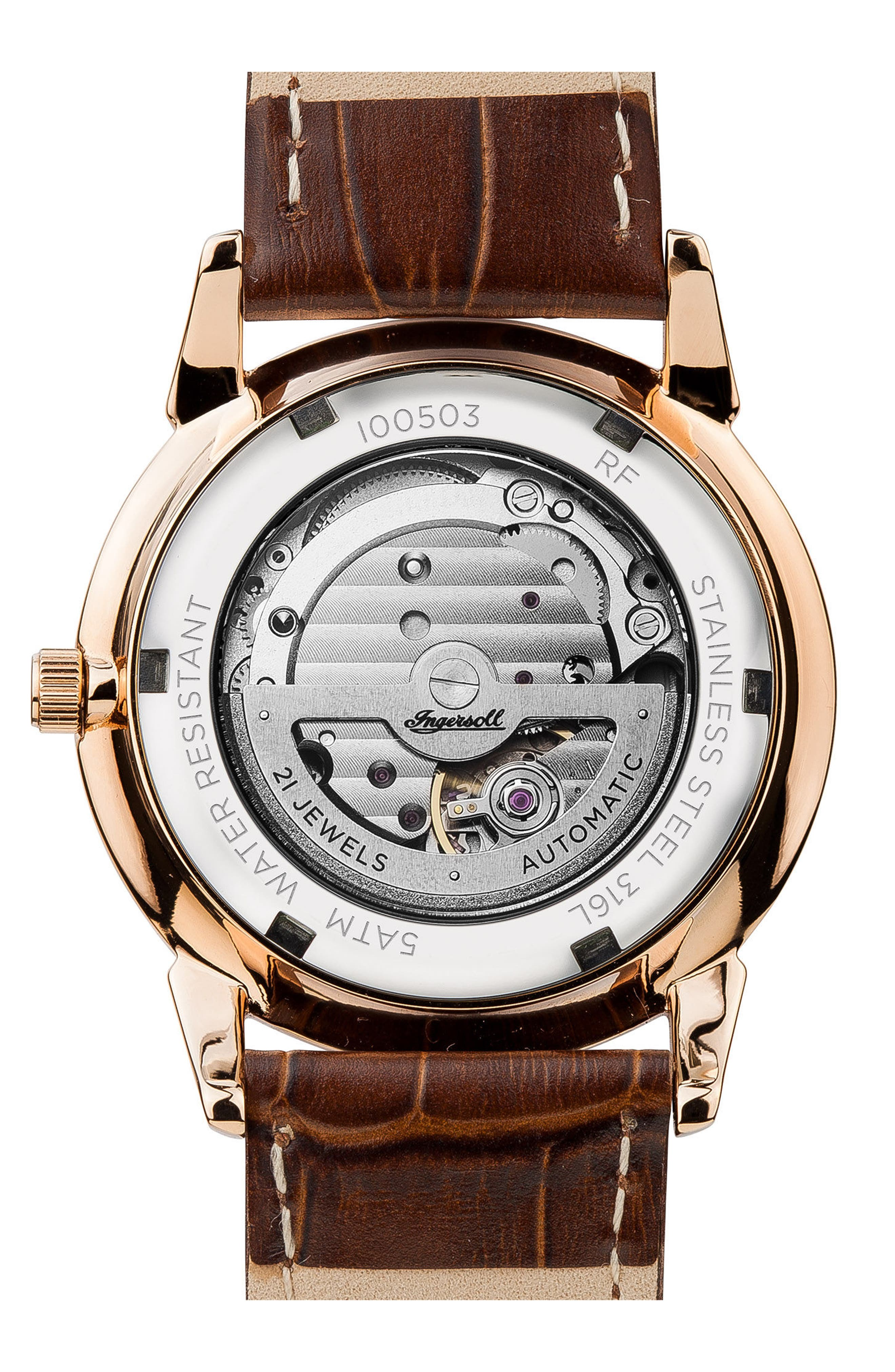Ingersoll New Haven Automatic Leather Strap Watch, 40mm,                             Alternate thumbnail 2, color,                             Brown/ Silver/ Rose Gold