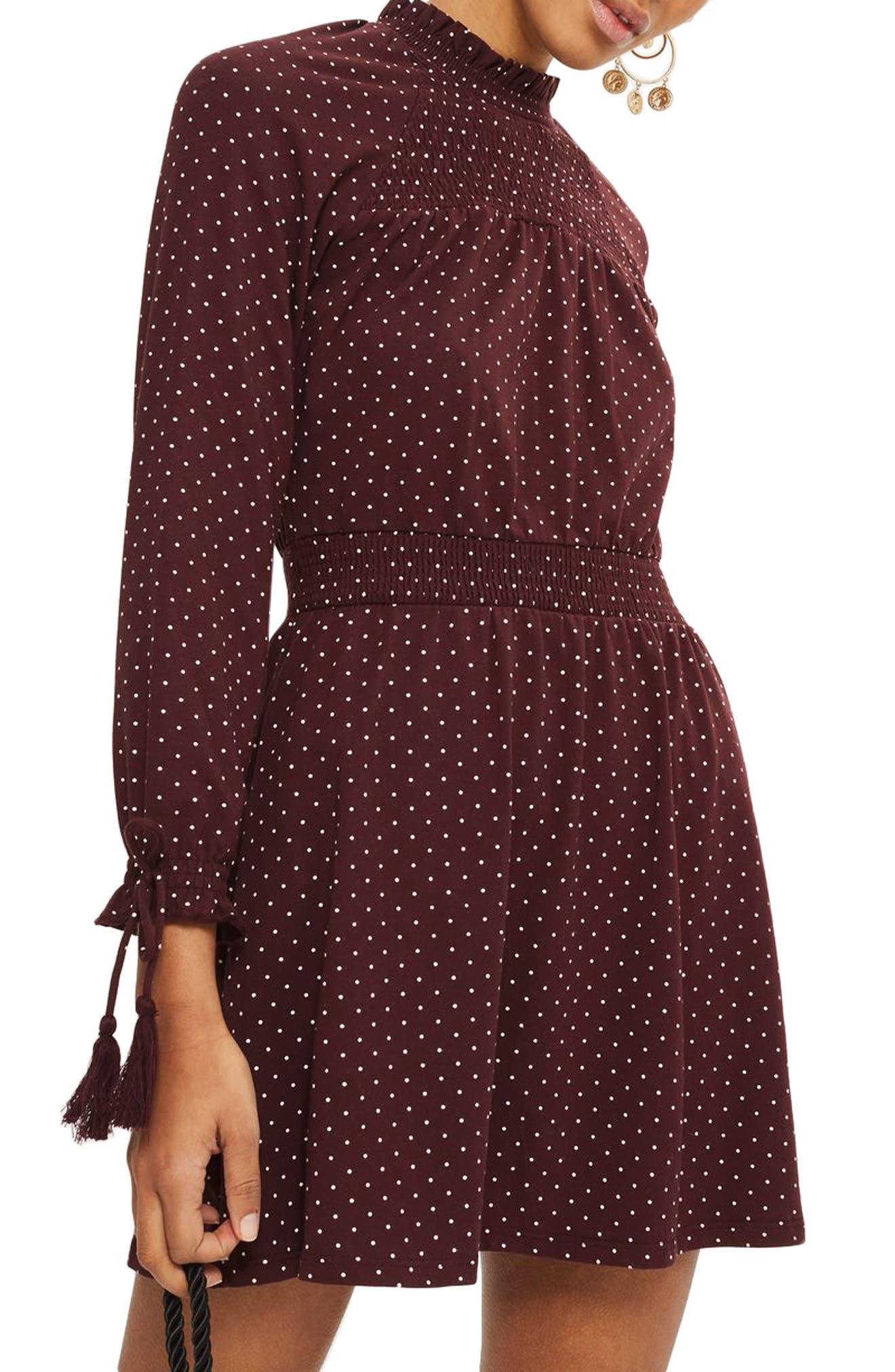 Polka Dot Shirred Waist Dress,                         Main,                         color, Burgundy
