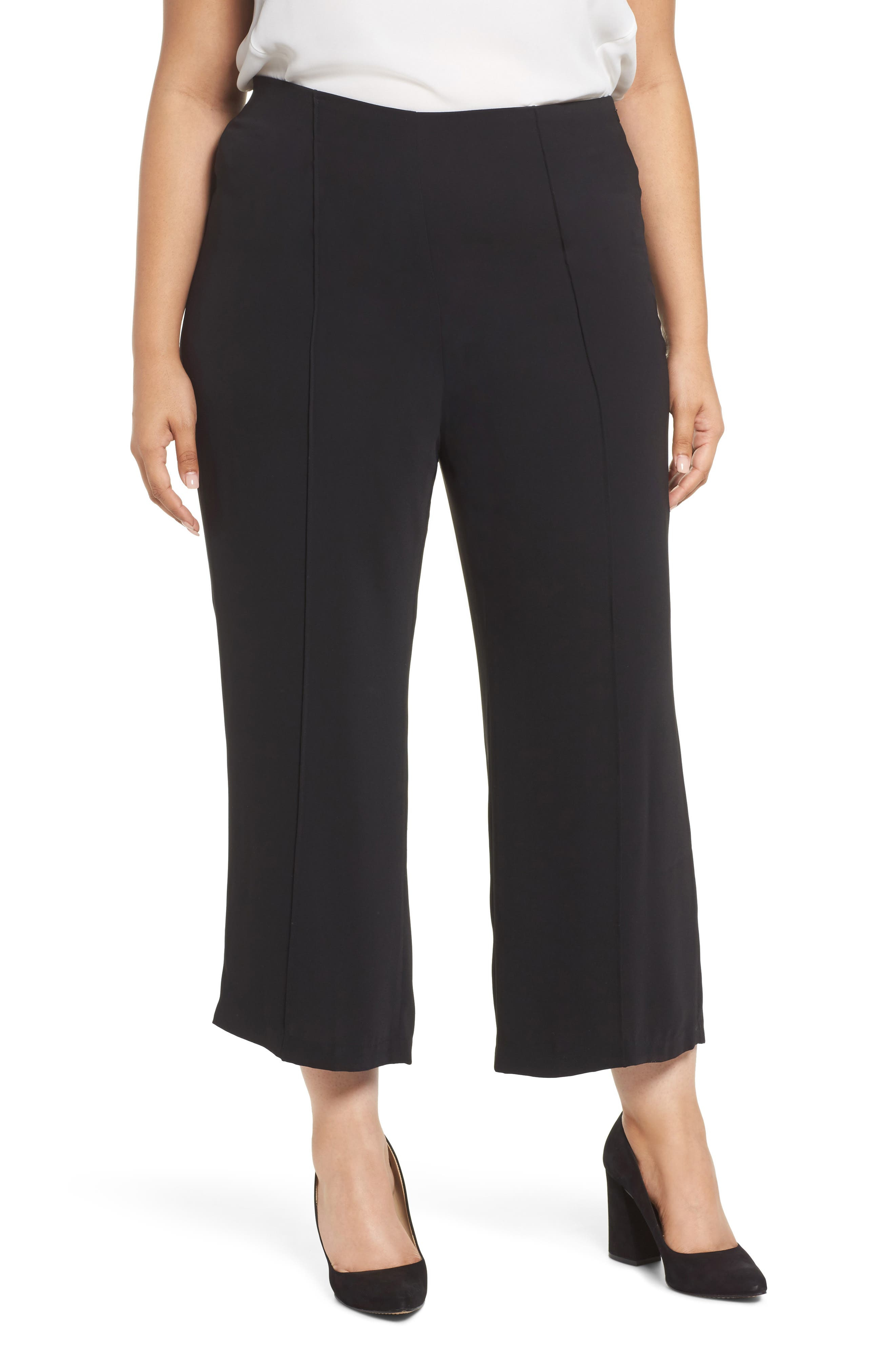 Wide Leg Ankle Pants,                             Main thumbnail 1, color,                             Black