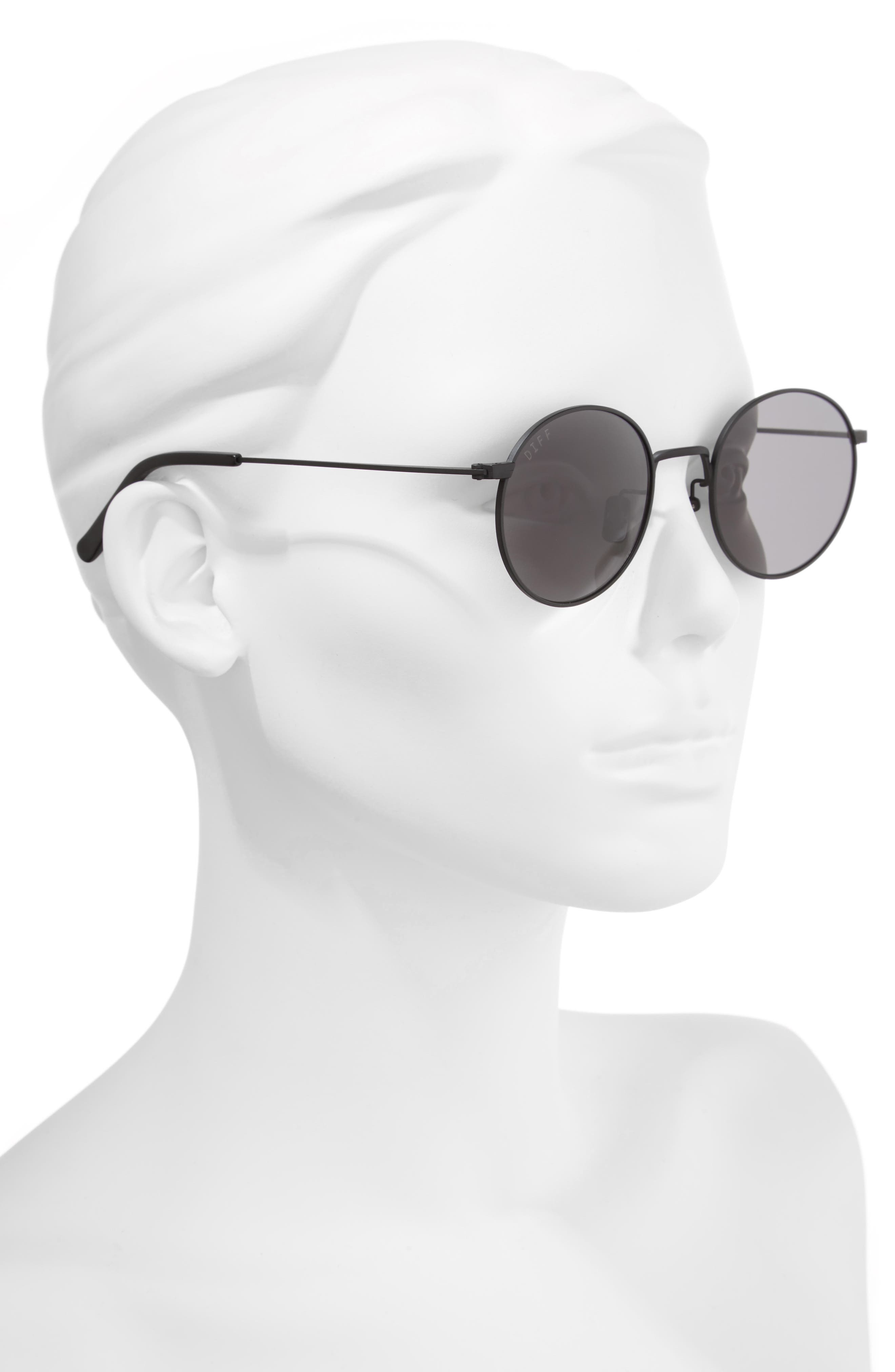 Daisy 51mm Round Sunglasses,                             Alternate thumbnail 2, color,                             Matte Black/ Grey