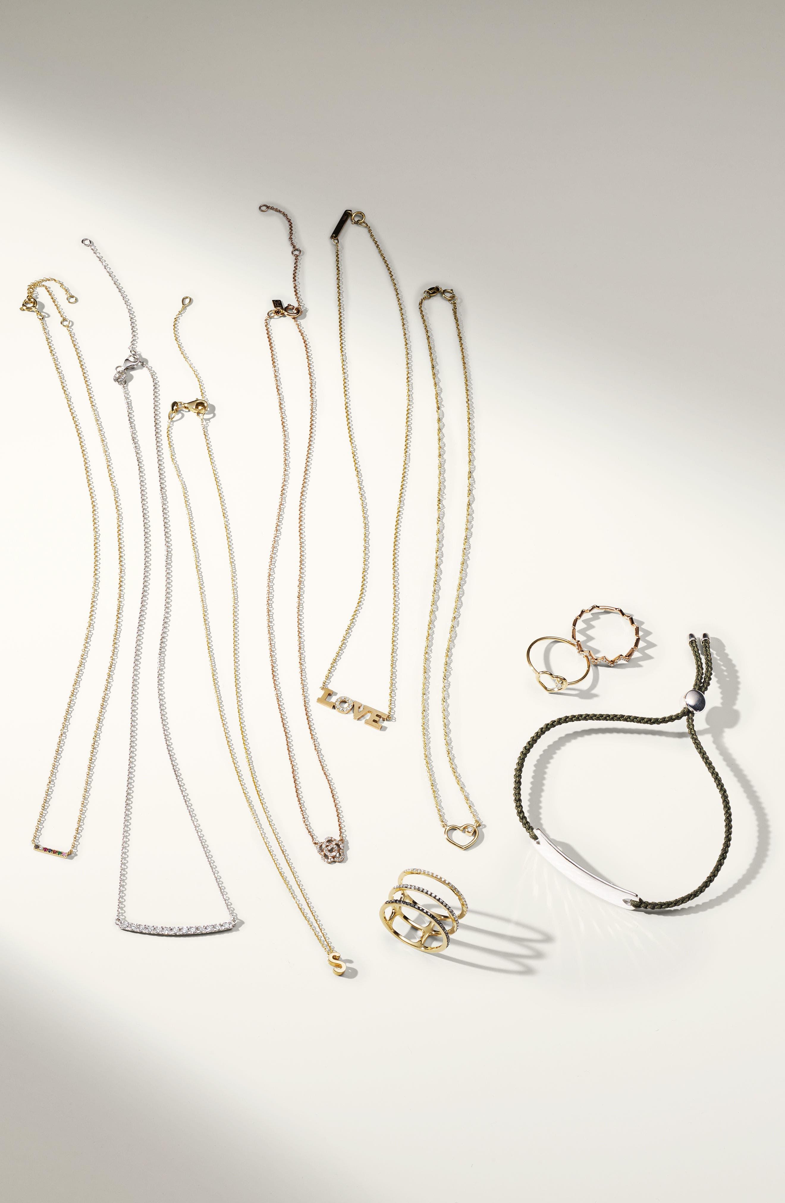 'Stick' Pavé Diamond Bar Necklace,                             Alternate thumbnail 4, color,