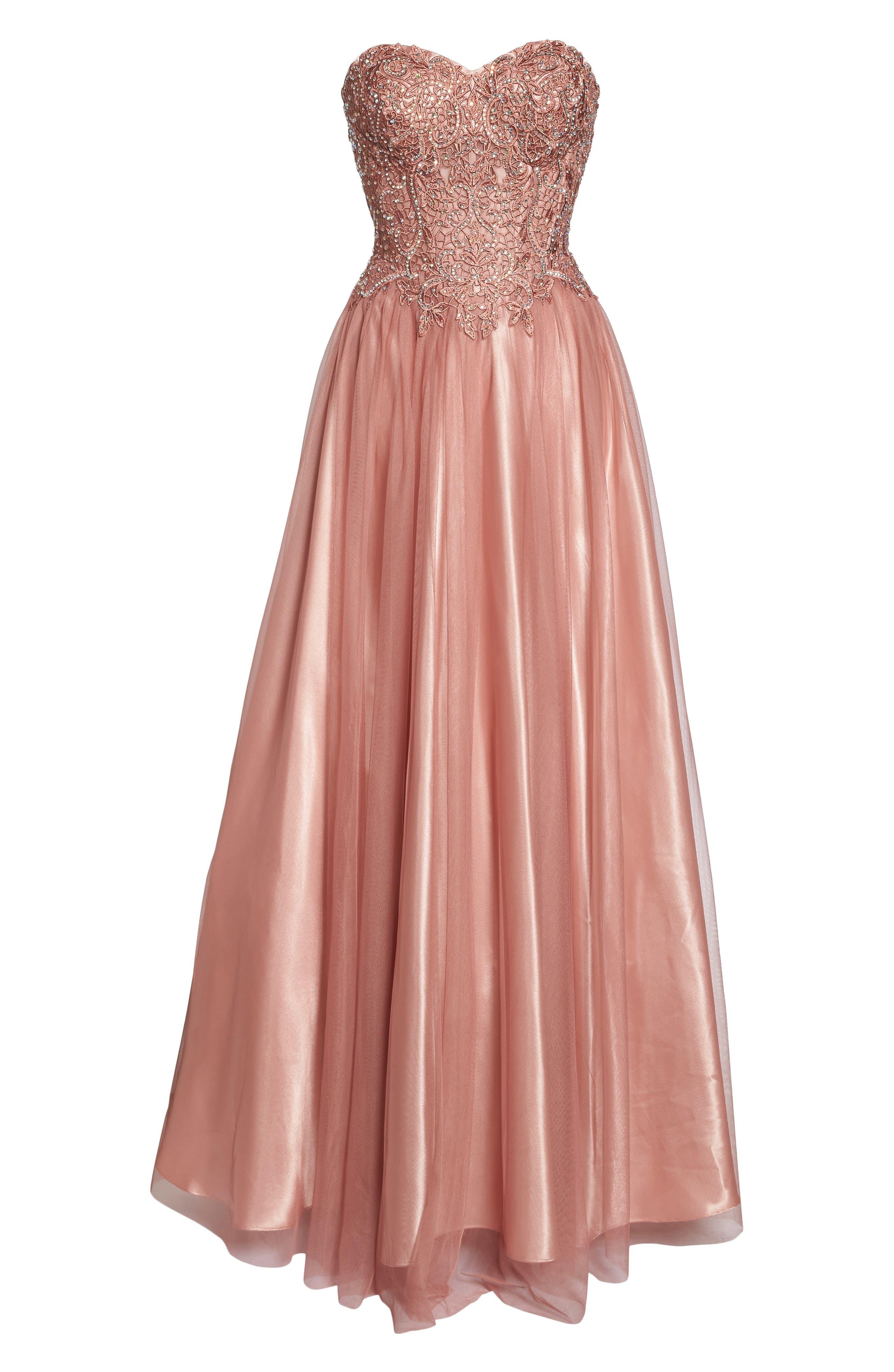 Embellished Corset Ballgown,                             Alternate thumbnail 6, color,                             Rose