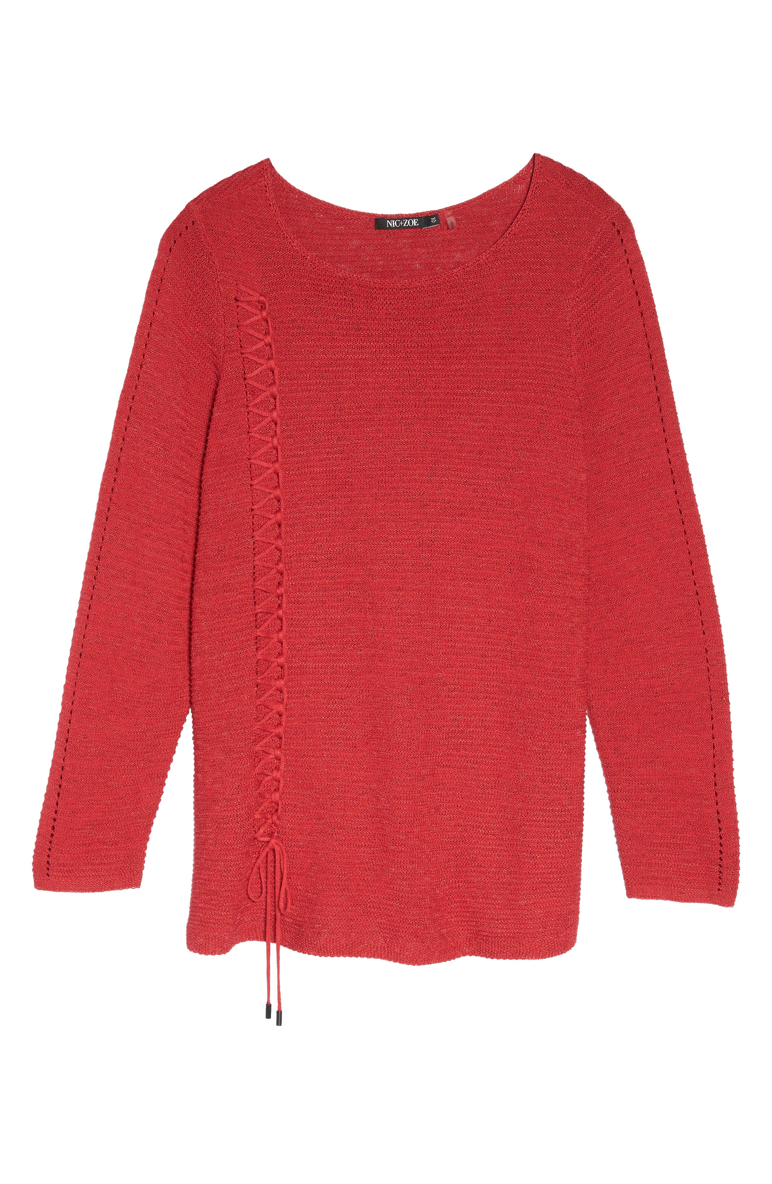 Braided Up Sweater,                             Alternate thumbnail 6, color,                             True Red