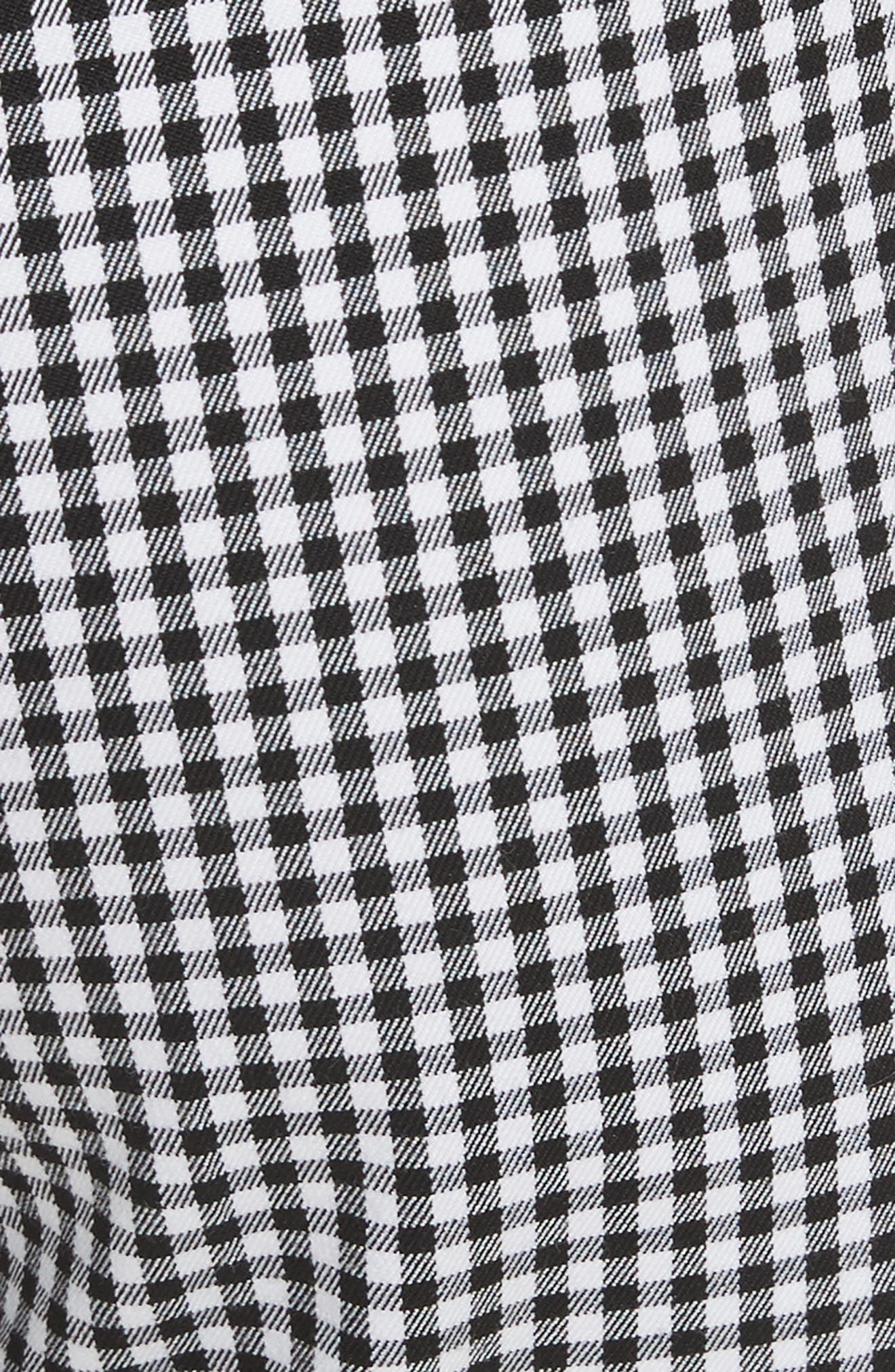 Gingham Stretch Cotton Pants,                             Alternate thumbnail 6, color,                             Black / White