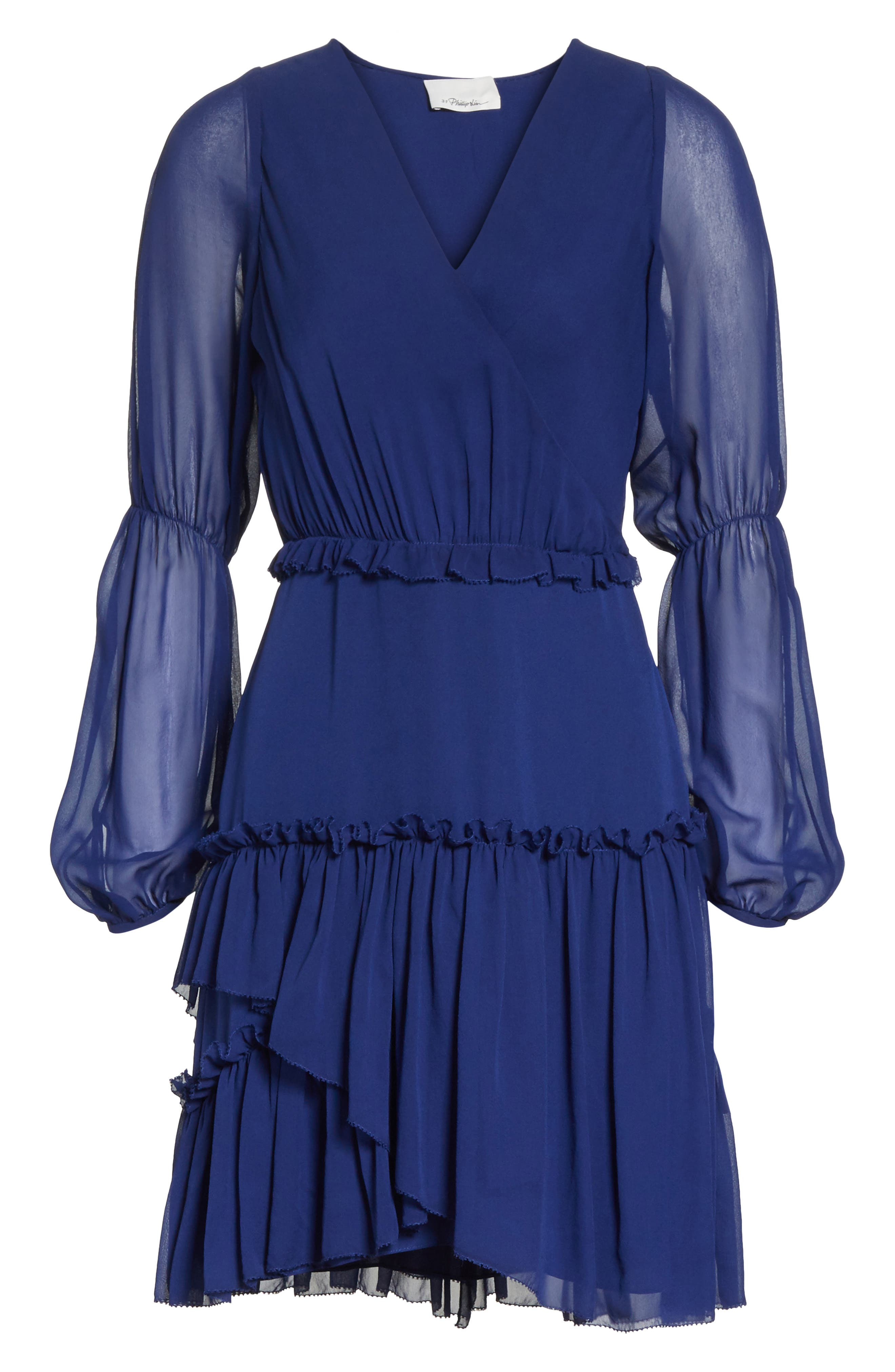 Gathered Silk Dress,                             Alternate thumbnail 6, color,                             Dark Cobalt