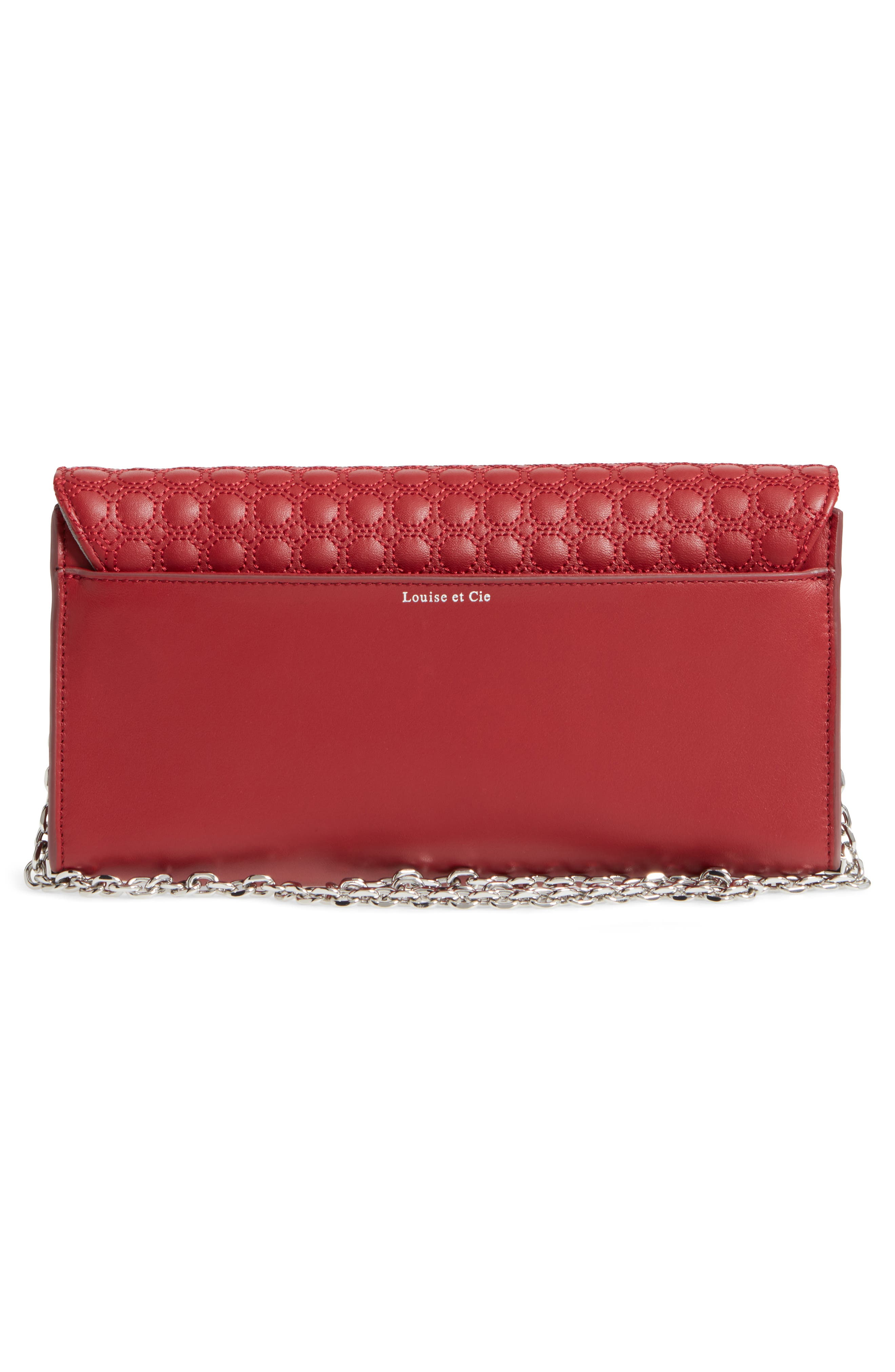'Yvet' Leather Flap Clutch,                             Alternate thumbnail 3, color,                             Cherry Red