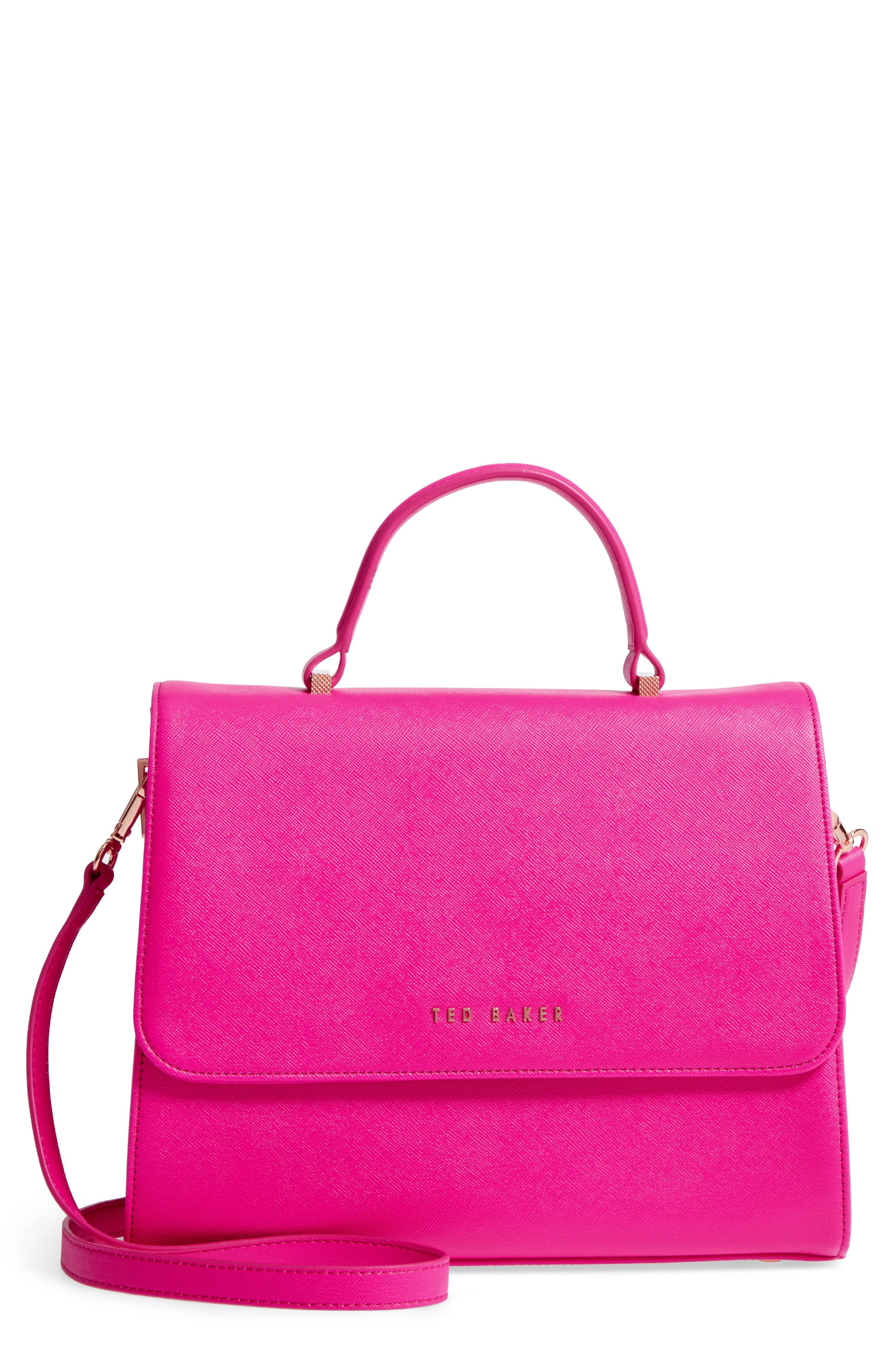 Hetie Faux Leather Satchel,                             Main thumbnail 1, color,                             Bright Pink