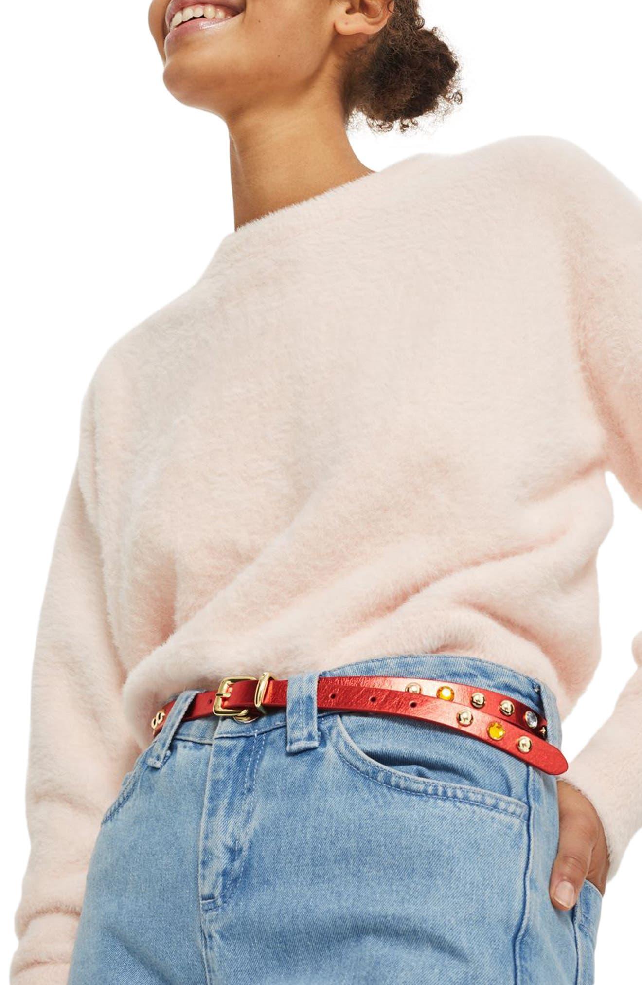 Jewel Studded Belt,                             Alternate thumbnail 3, color,                             Red Multi