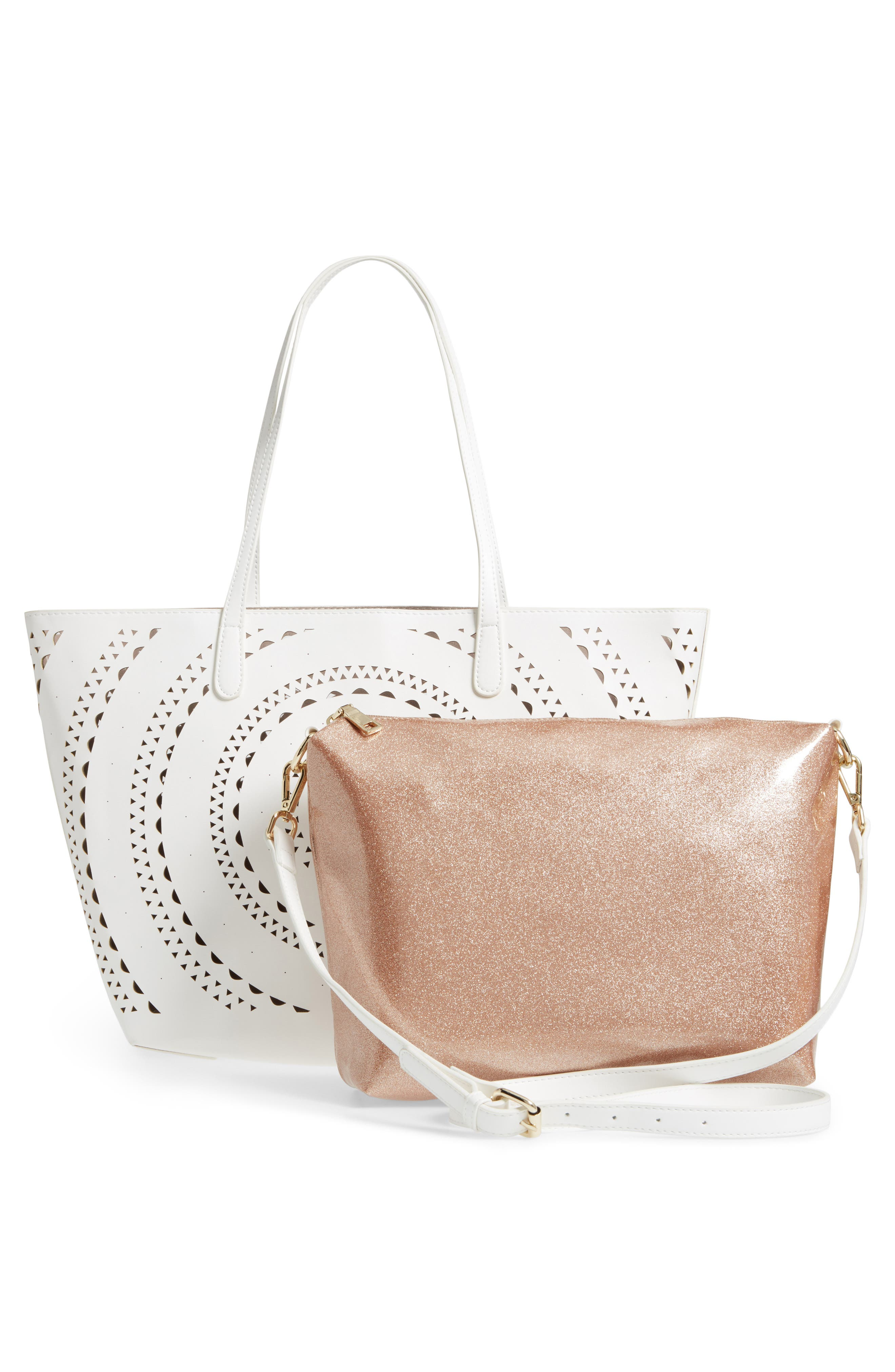Perforated Glitter Flower Faux Leather Tote,                             Alternate thumbnail 3, color,                             White