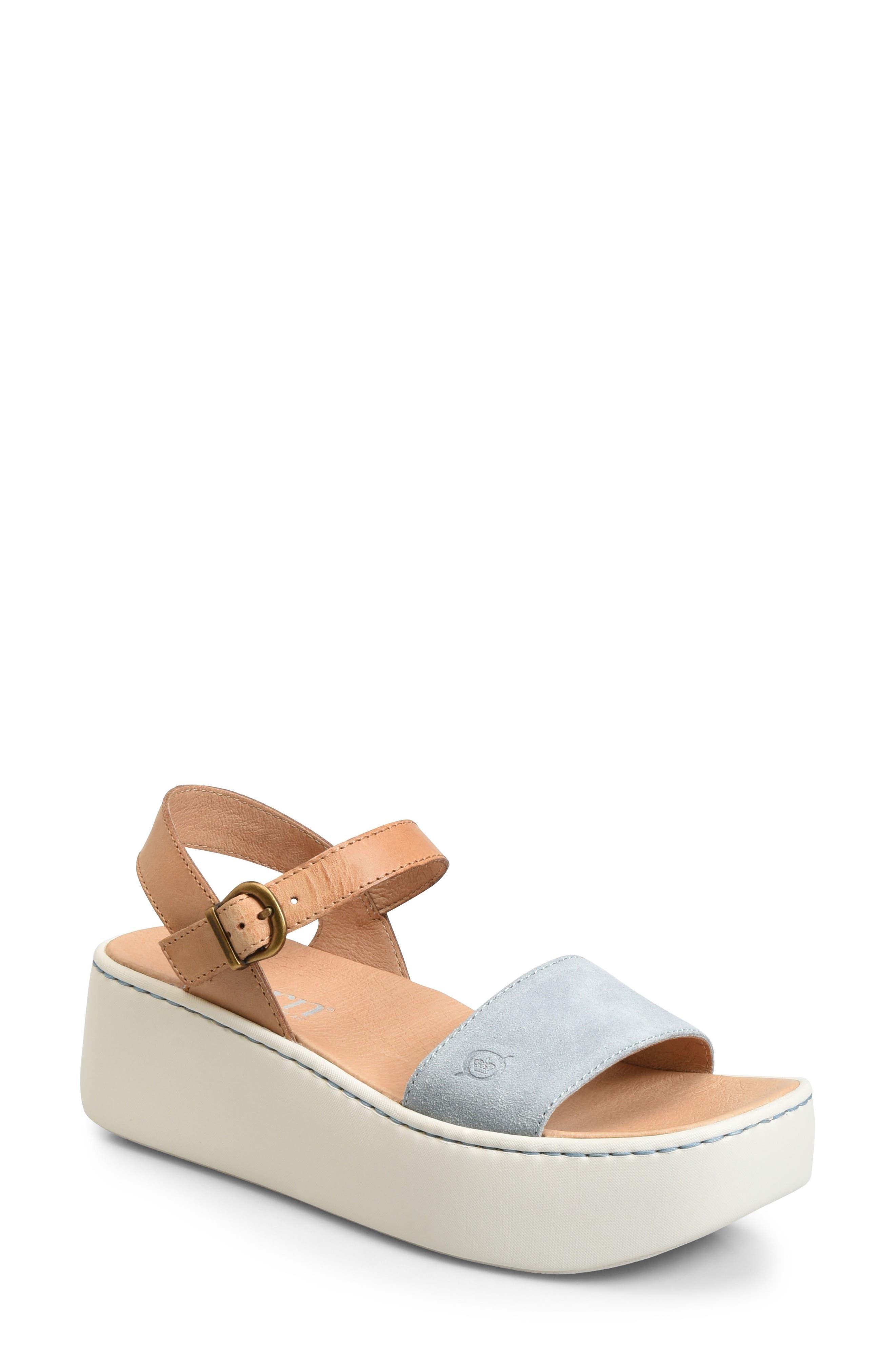 Breaker Platform Sandal,                             Main thumbnail 1, color,                             Light Blue/ Tan Leather