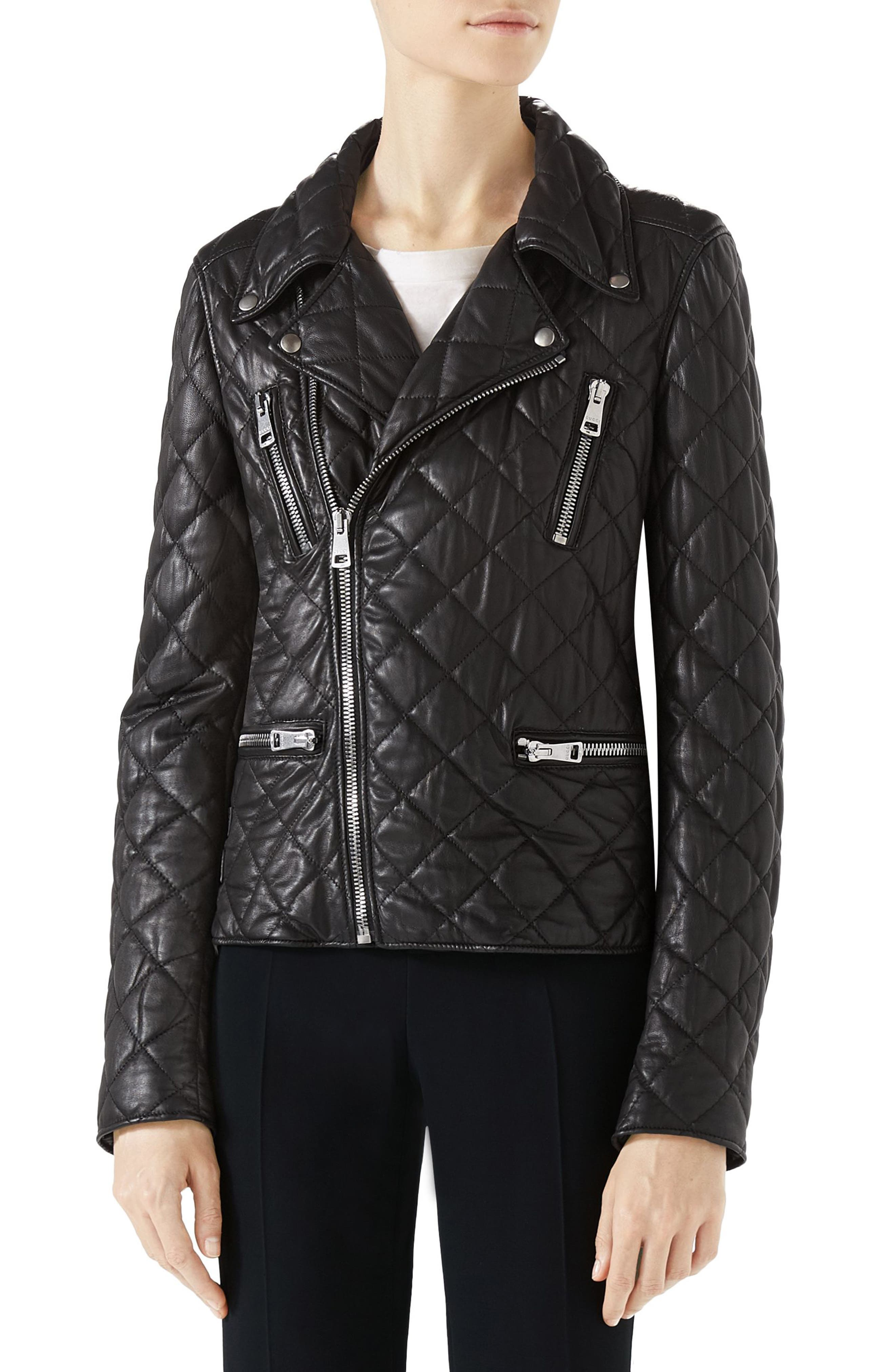 Logo Quilted Leather Biker Jacket,                             Main thumbnail 1, color,                             Black
