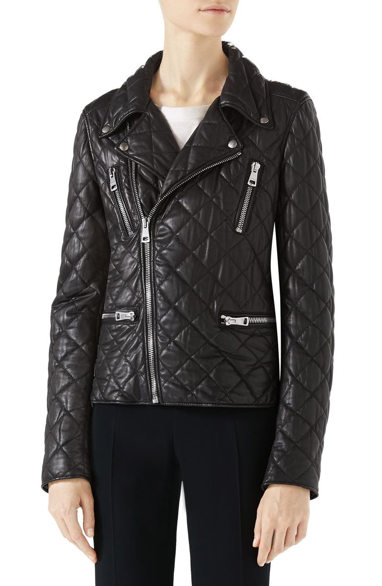 Logo Quilted Leather Biker Jacket